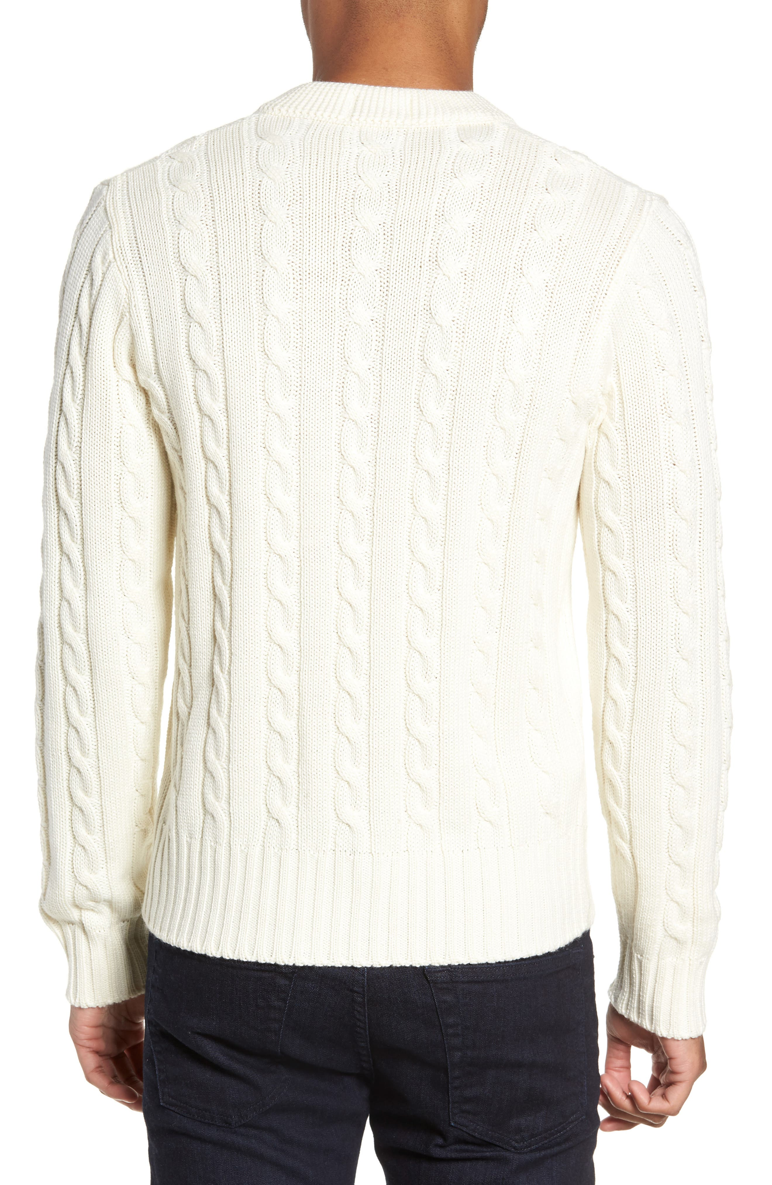 Wool Blend Cable Knit Sweater,                             Alternate thumbnail 2, color,                             ECRU