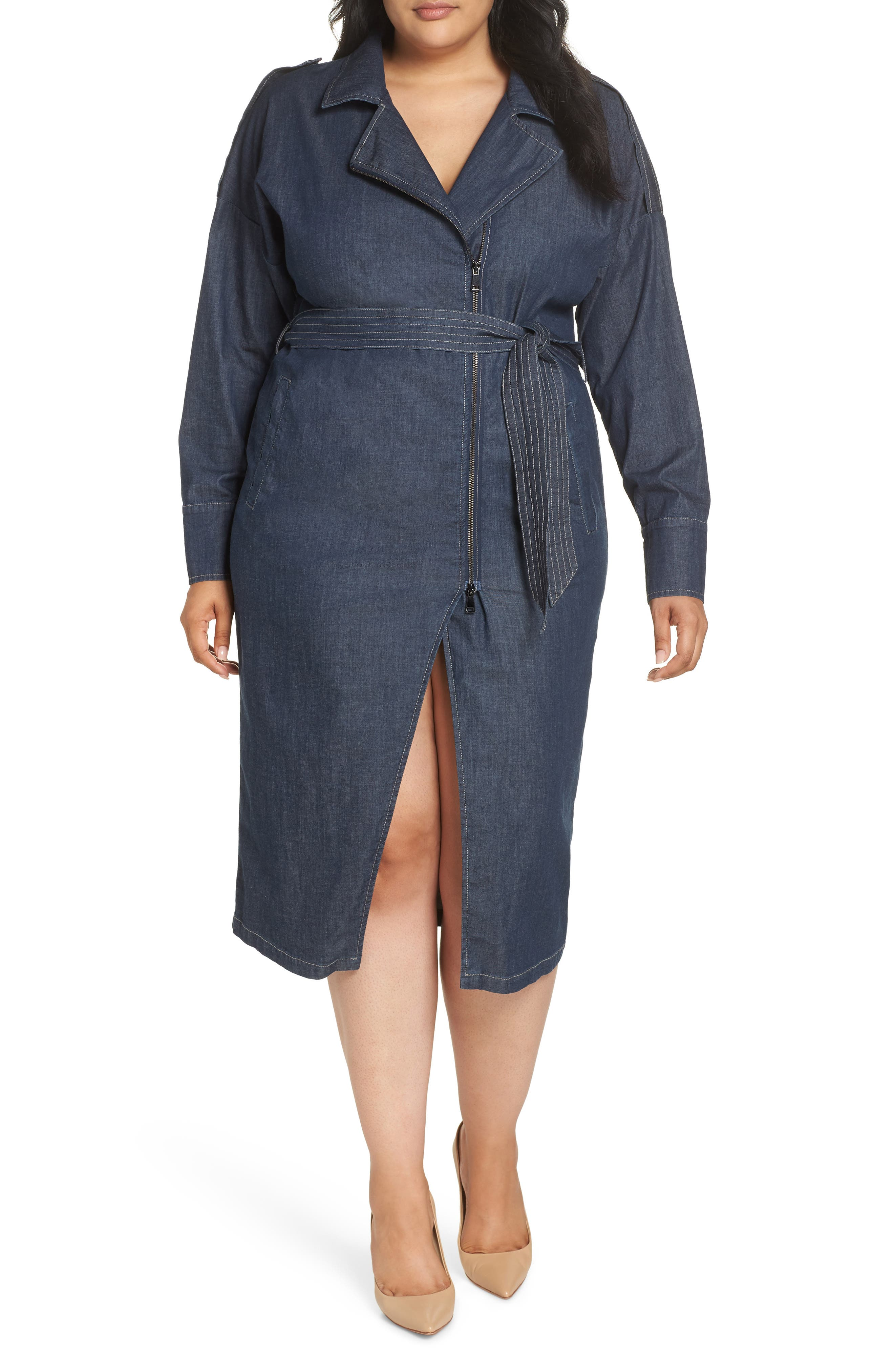 ASHLEY GRAHAM X MARINA RINALDI Decuria Denim Shirtdress in Navy Blue 2