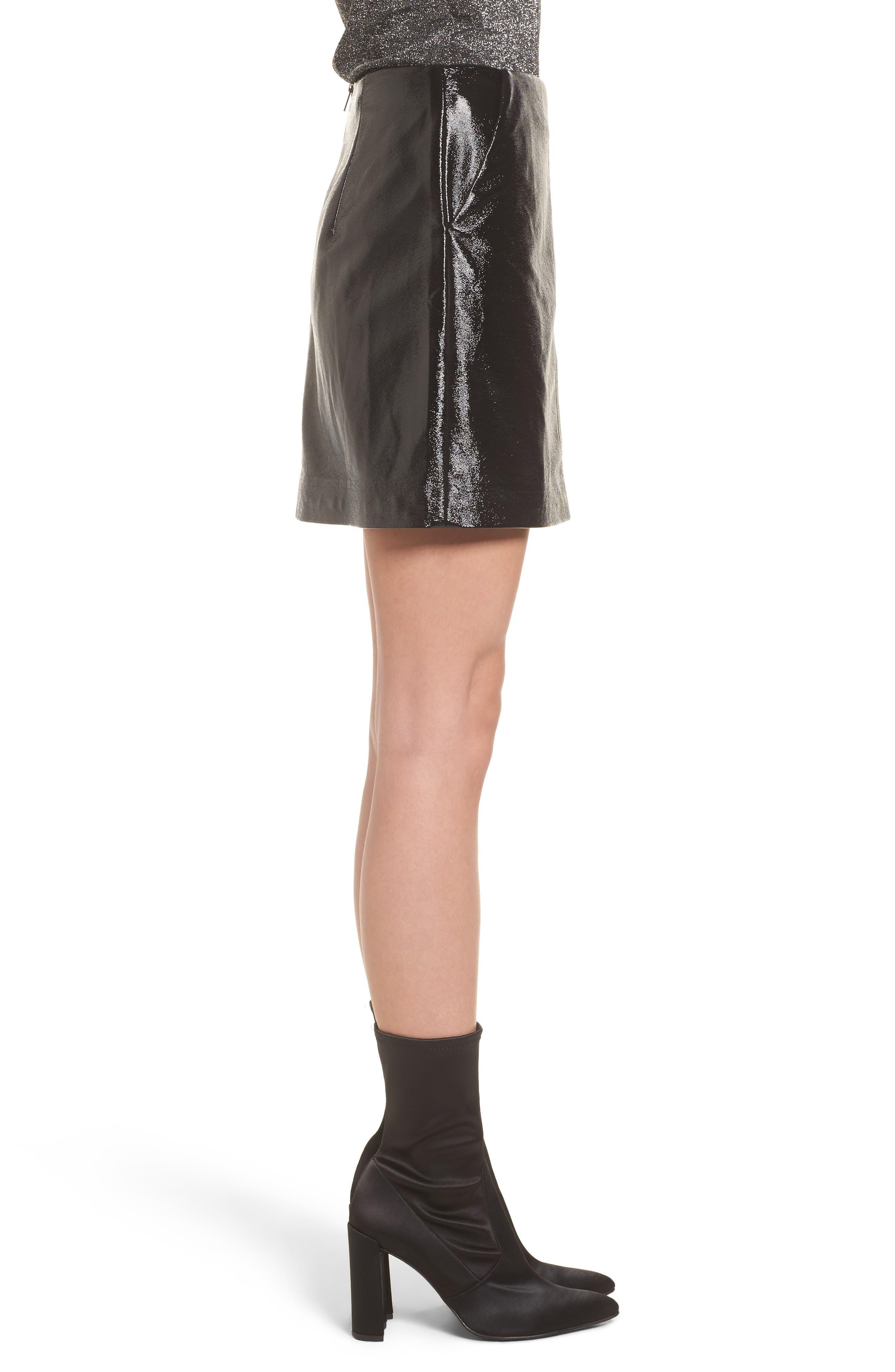 Faux Leather Skirt,                             Alternate thumbnail 3, color,