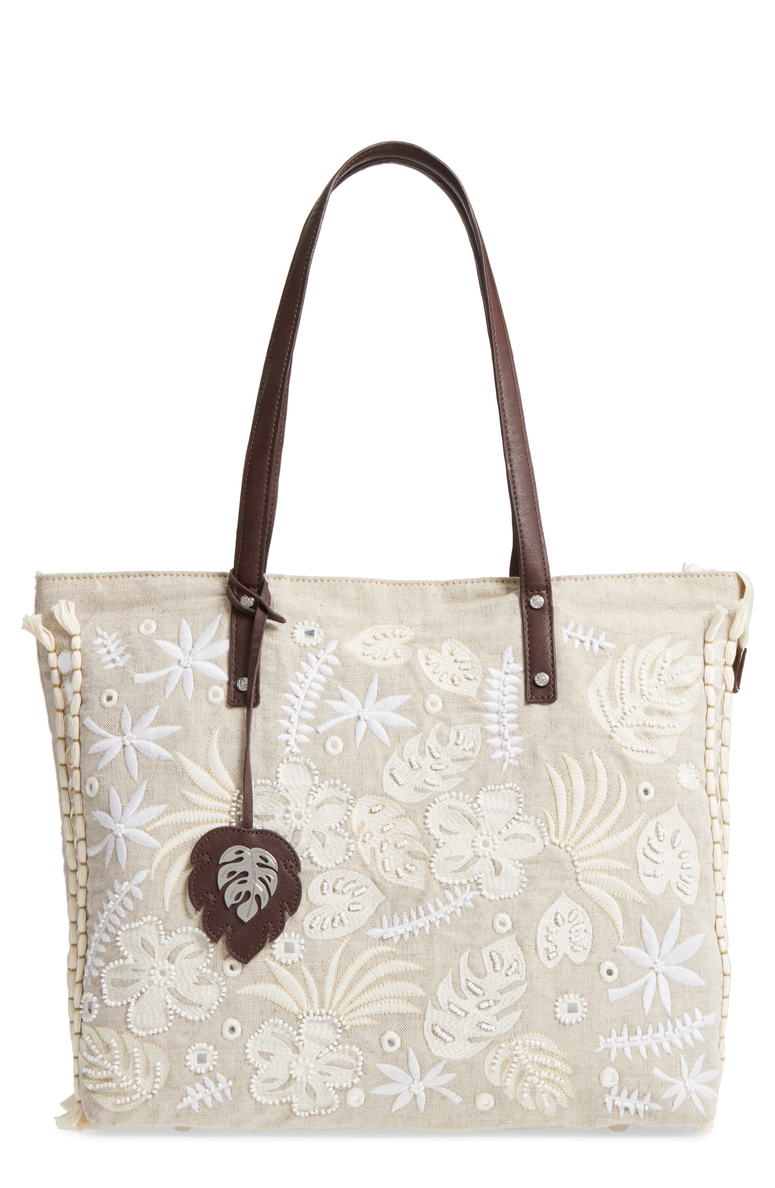 Belize Embroidered Canvas Tote,                         Main,                         color, 250