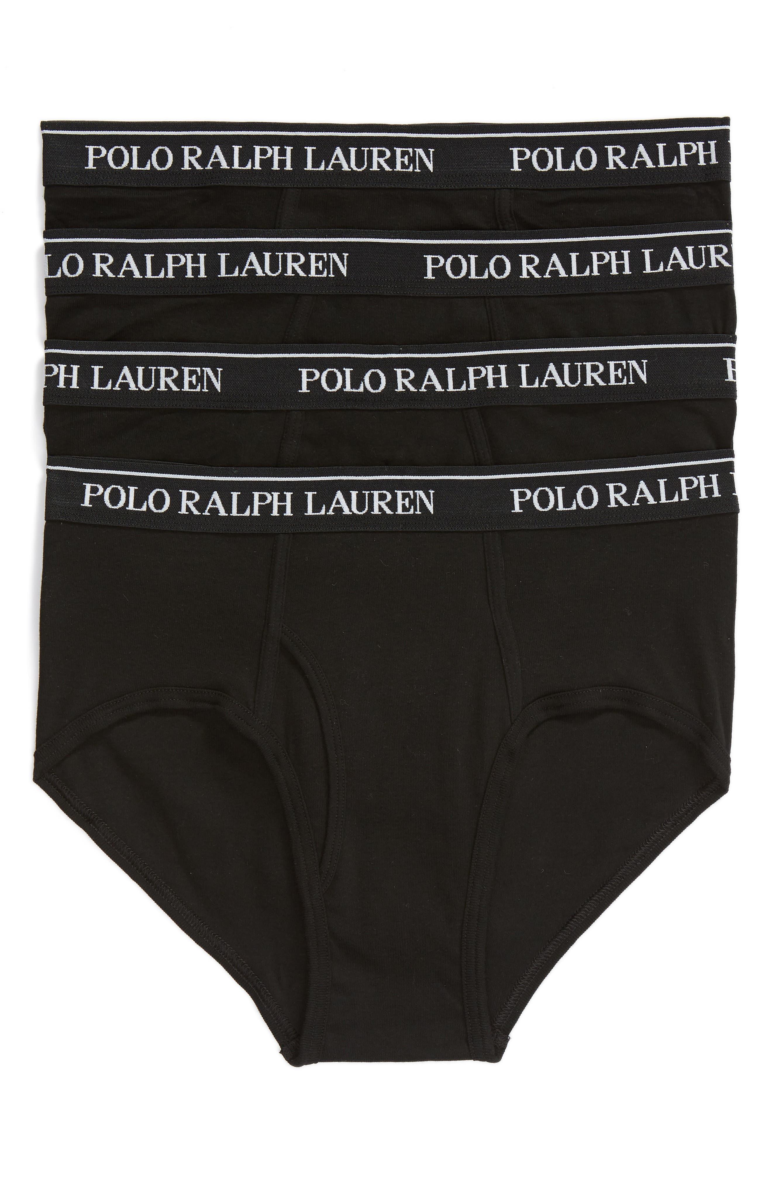 Polo Ralph Lauren 4-Pack Low Rise Cotton Briefs,                         Main,                         color, POLO BLACK