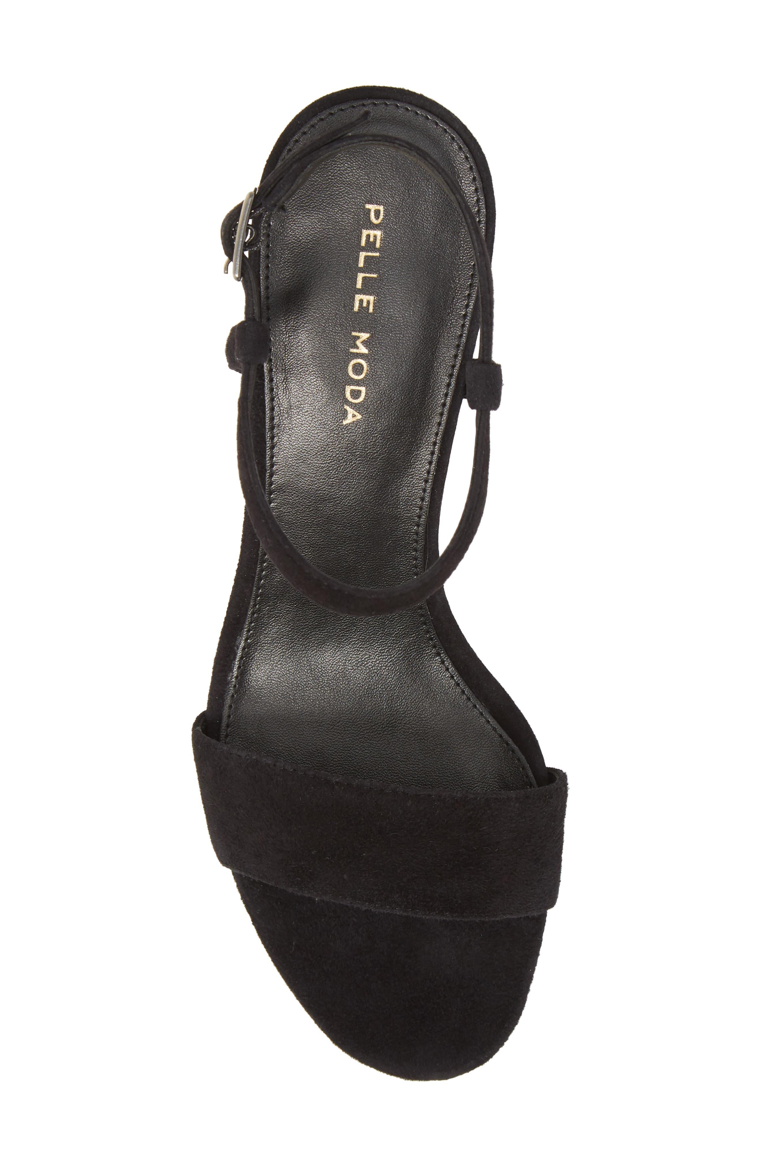 Alicia Block Heel Sandal,                             Alternate thumbnail 5, color,                             BLACK SUEDE