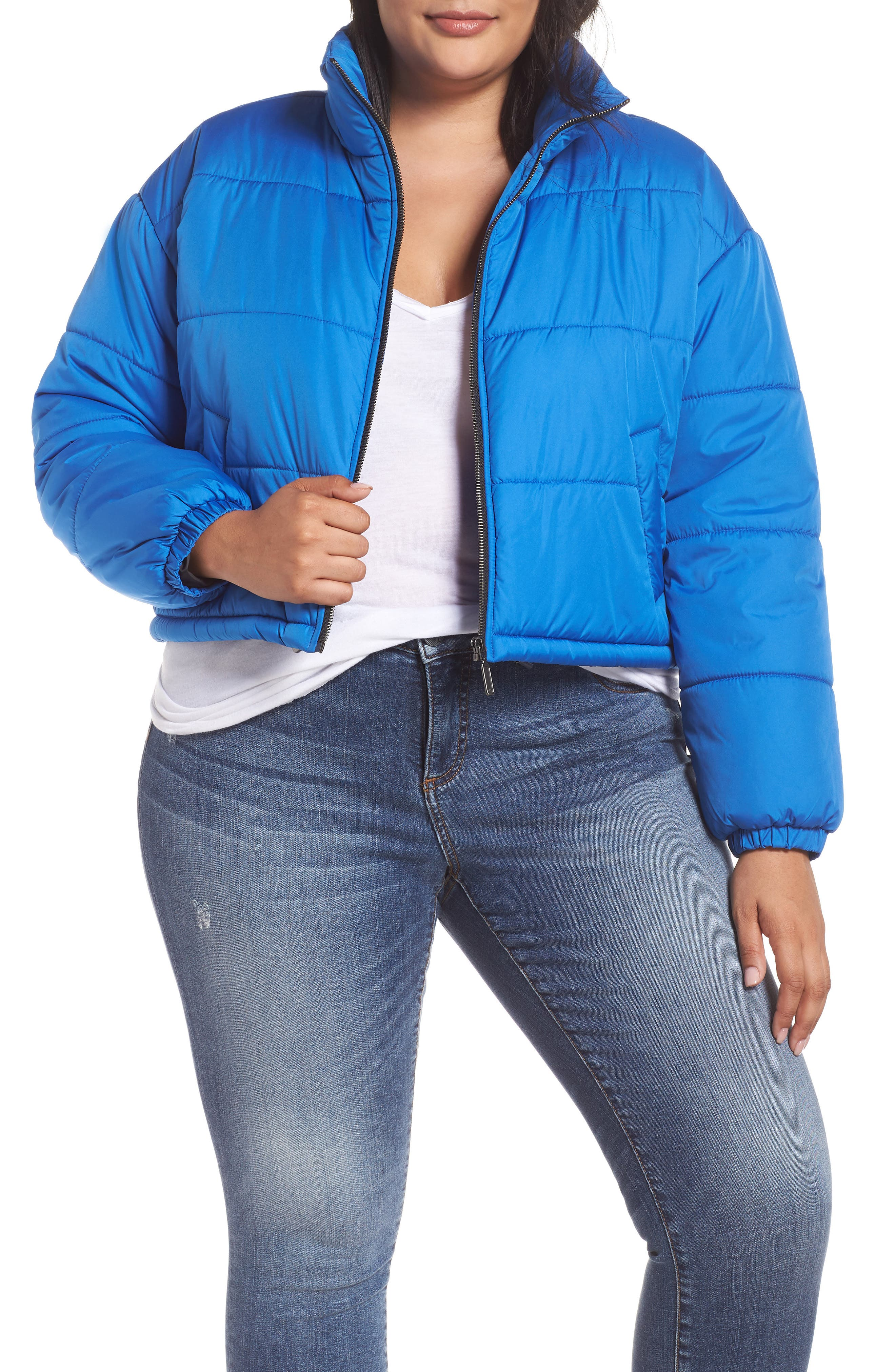 Crop Puffer Jacket,                             Alternate thumbnail 2, color,                             BLUE BOAT