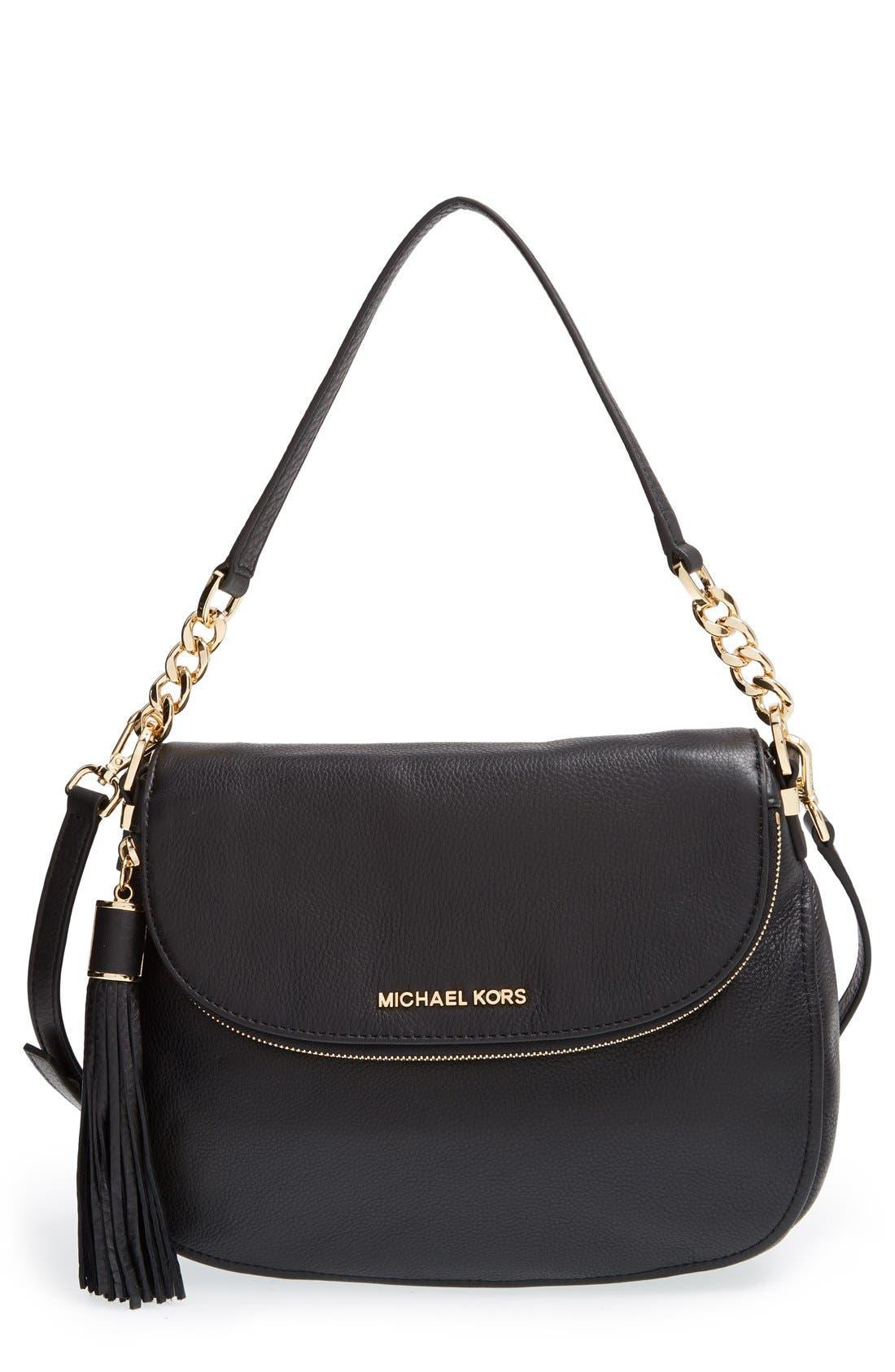 'Bedford Tassel - Medium' Convertible Leather Shoulder Bag,                             Main thumbnail 1, color,                             005