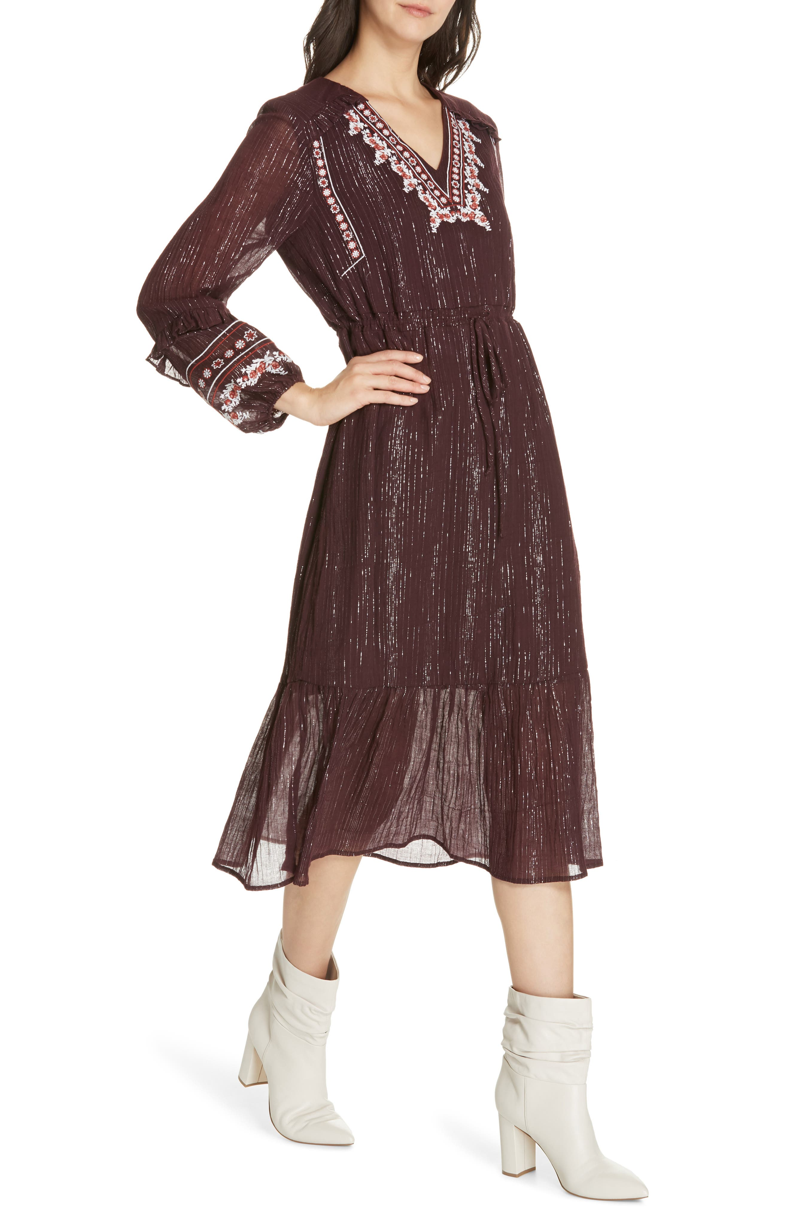 Rashida Embroidered Midi Dress,                             Alternate thumbnail 4, color,                             MULBERRY