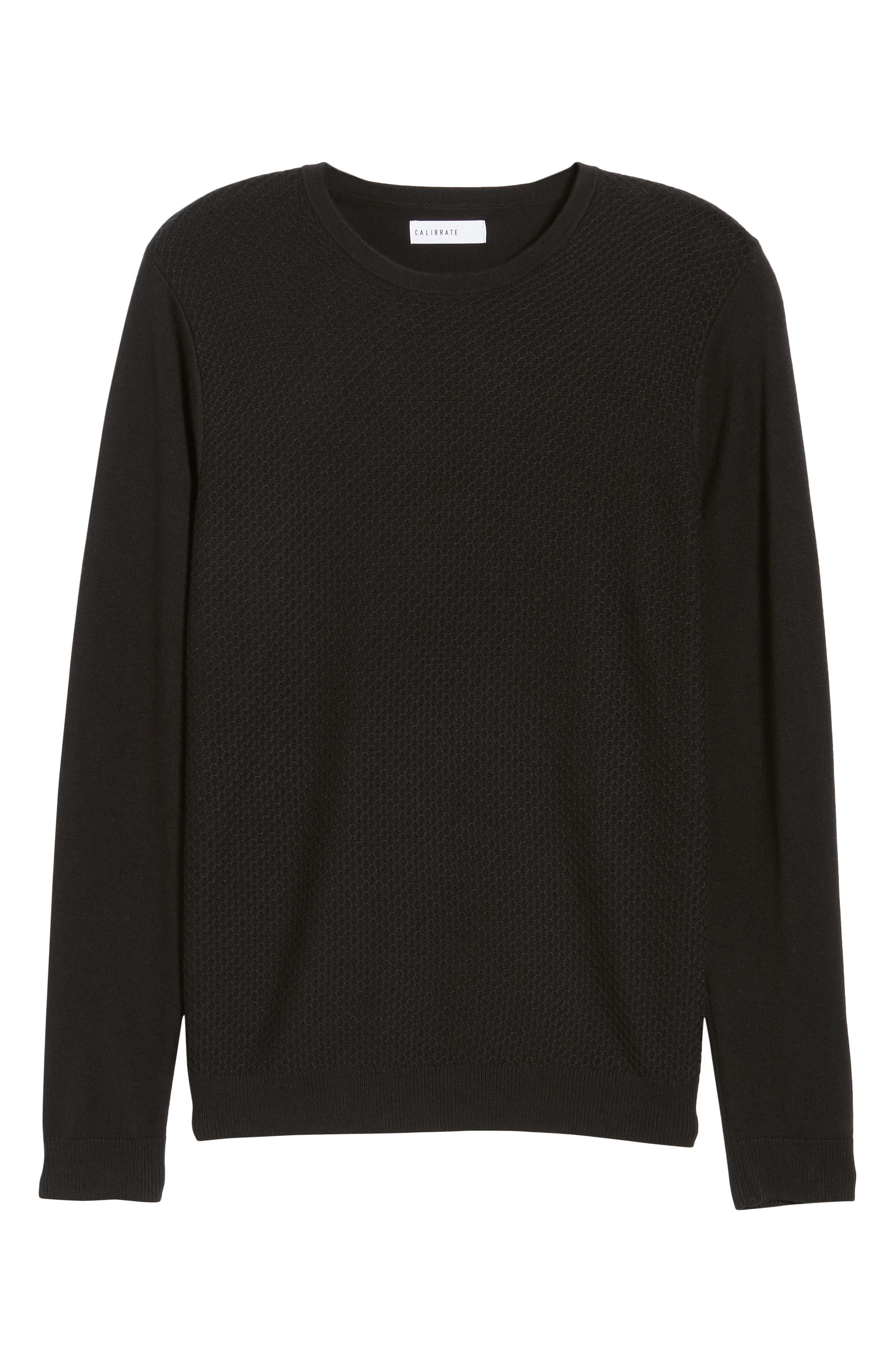 Honeycomb Crewneck Sweater,                             Alternate thumbnail 6, color,                             001