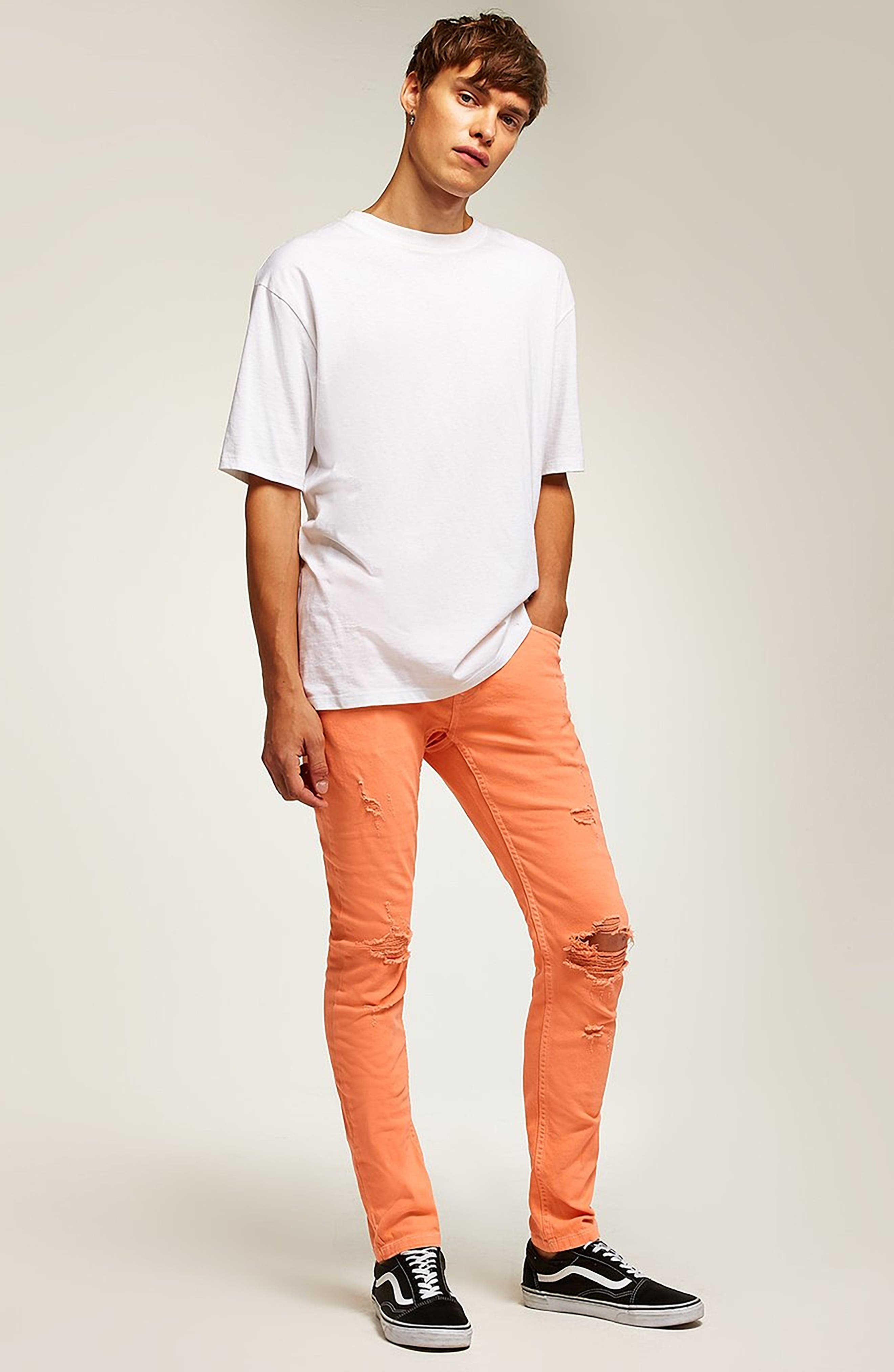 Ripped Skinny Fit Jeans,                             Alternate thumbnail 5, color,                             800