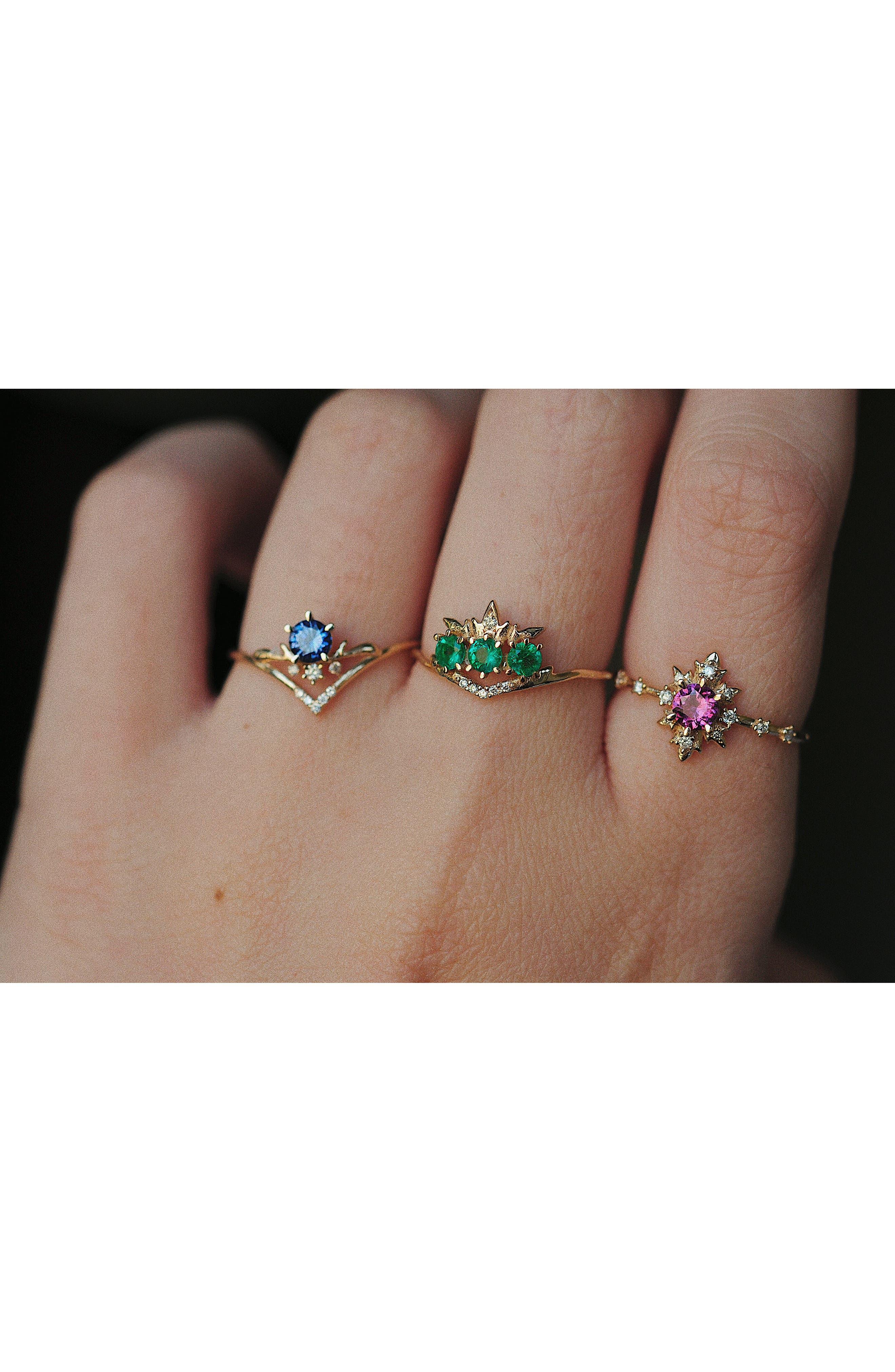 Moon Tear Sapphire & Diamond Ring,                             Alternate thumbnail 2, color,                             GOLD