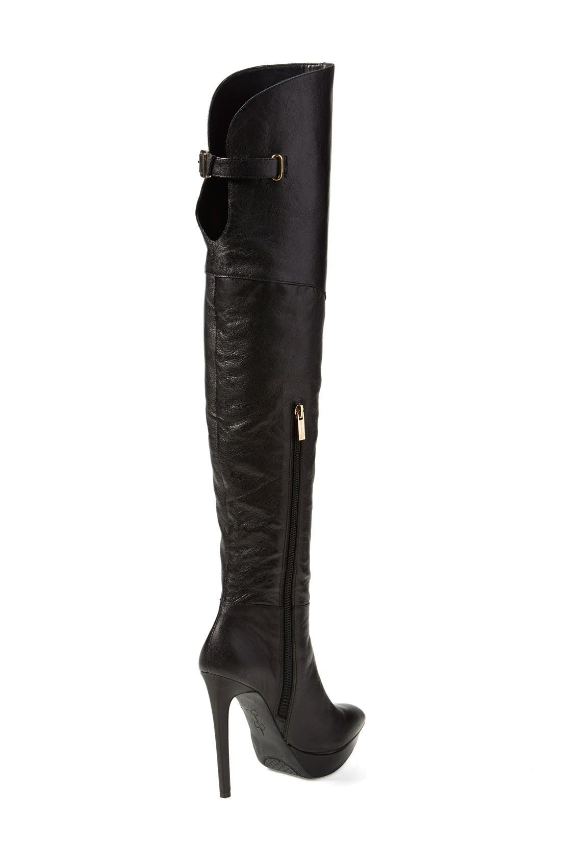 'Valentia' Over the Knee Platform Boot,                             Alternate thumbnail 3, color,                             001