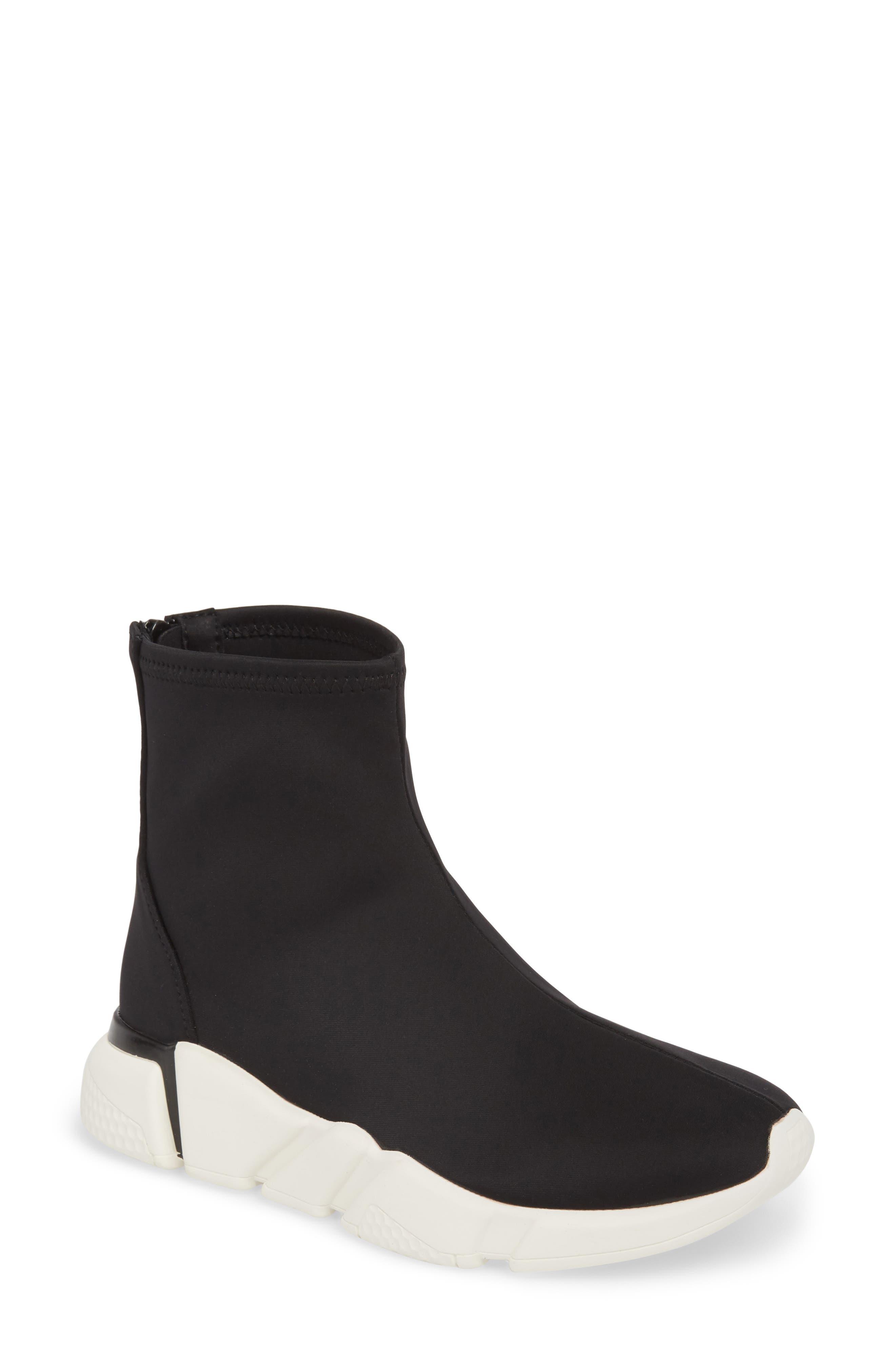 Sock Sneaker,                             Main thumbnail 1, color,                             BLACK / WHITE