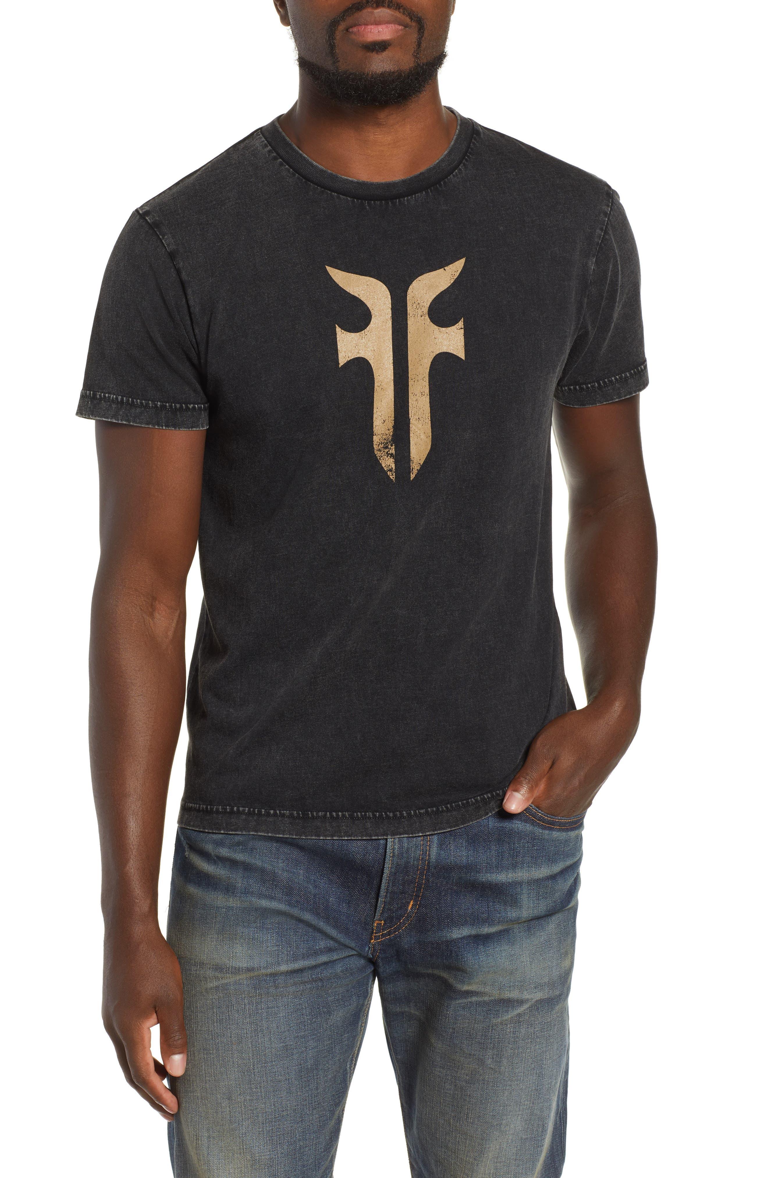 Double-F Logo Acid Wash T-Shirt,                             Main thumbnail 1, color,                             JET BLACK ACID WASH