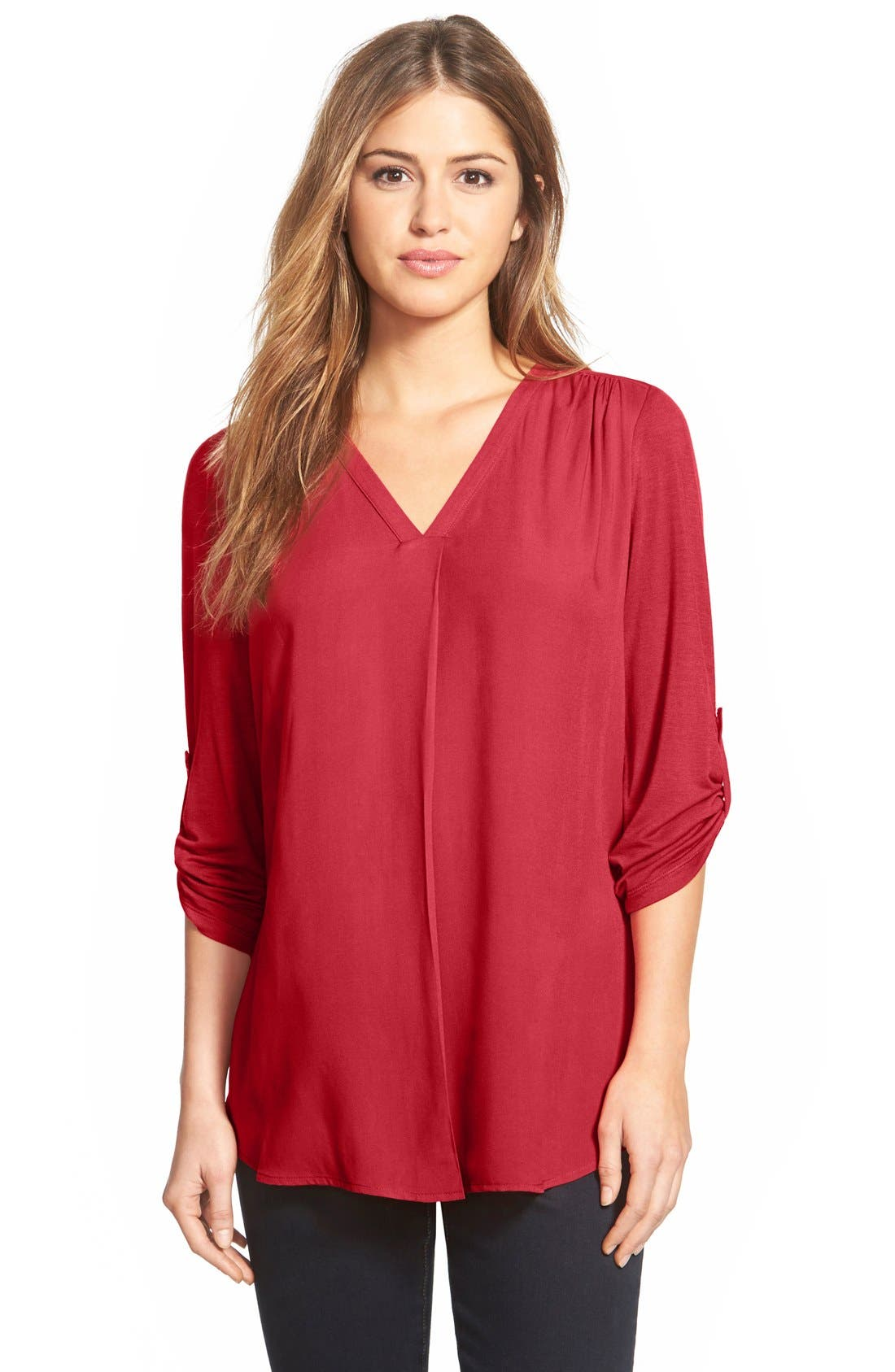 Mixed Media V-Neck Tunic,                             Main thumbnail 30, color,