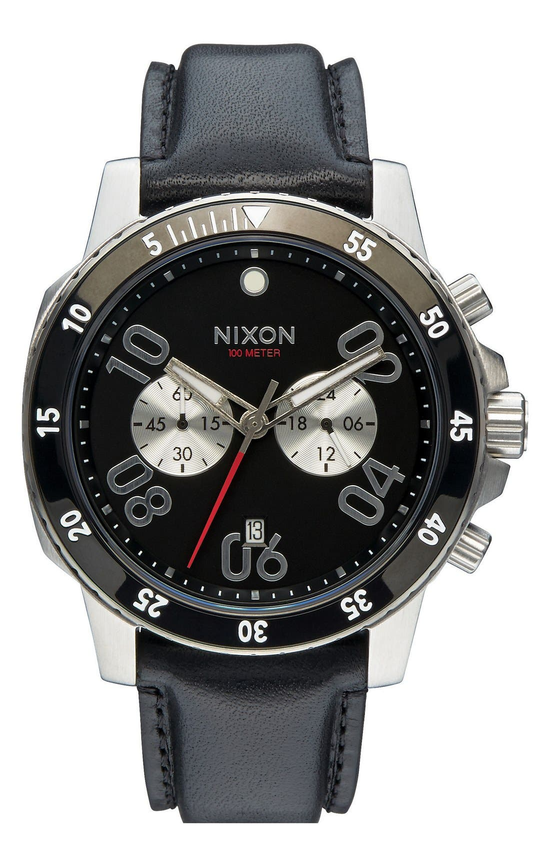 NIXON 'The Ranger' Chronograph Leather Strap Watch, 44mm, Main, color, 001