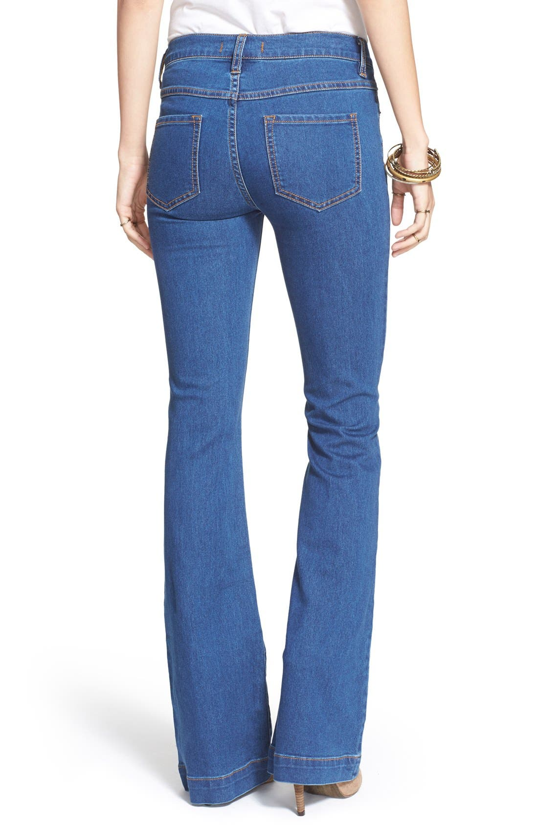Stretch Mid Rise Flare Jeans,                             Alternate thumbnail 4, color,                             400