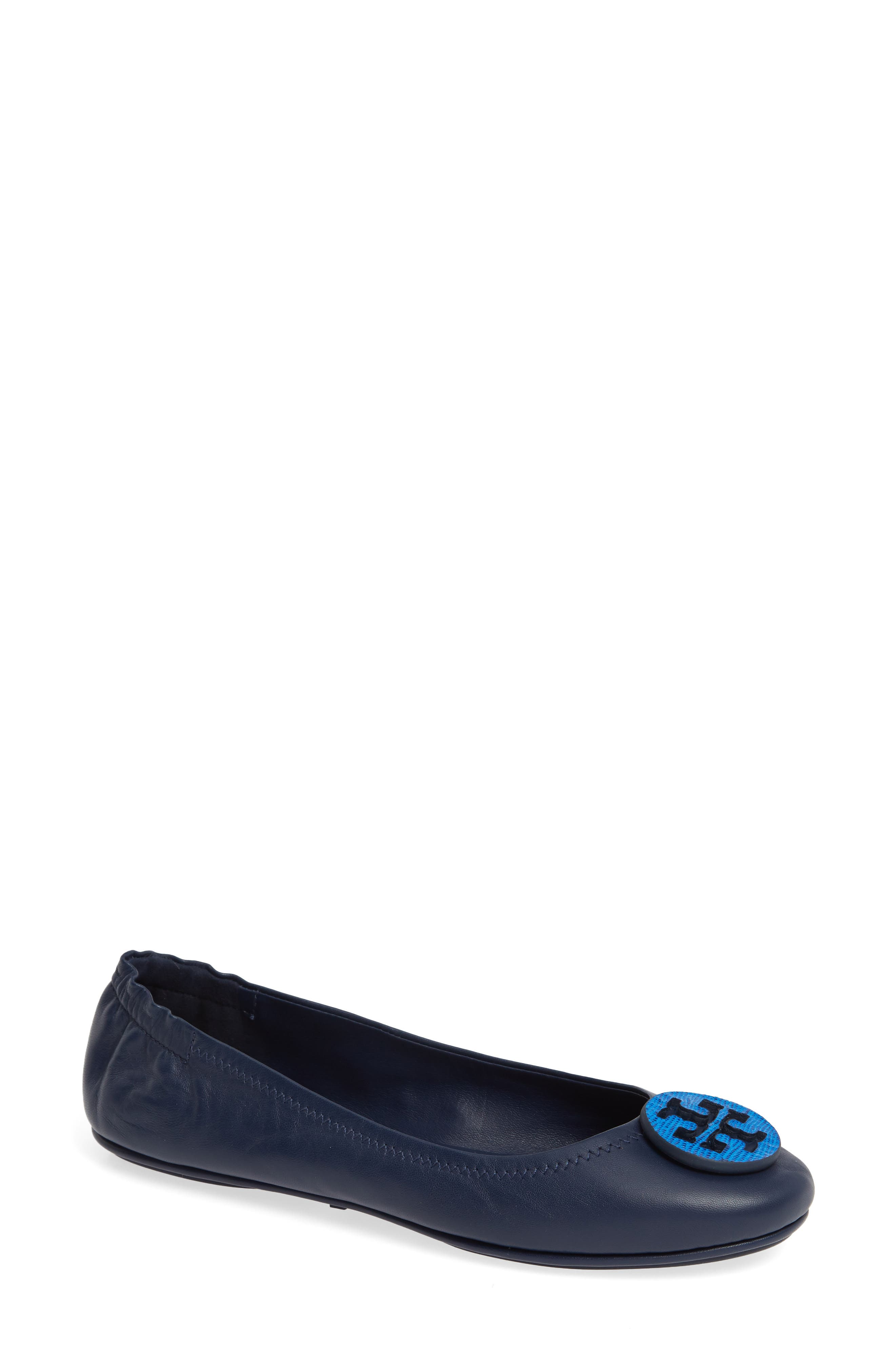 'Minnie' Travel Ballet Flat in Royal Navy/ Tropical Blue