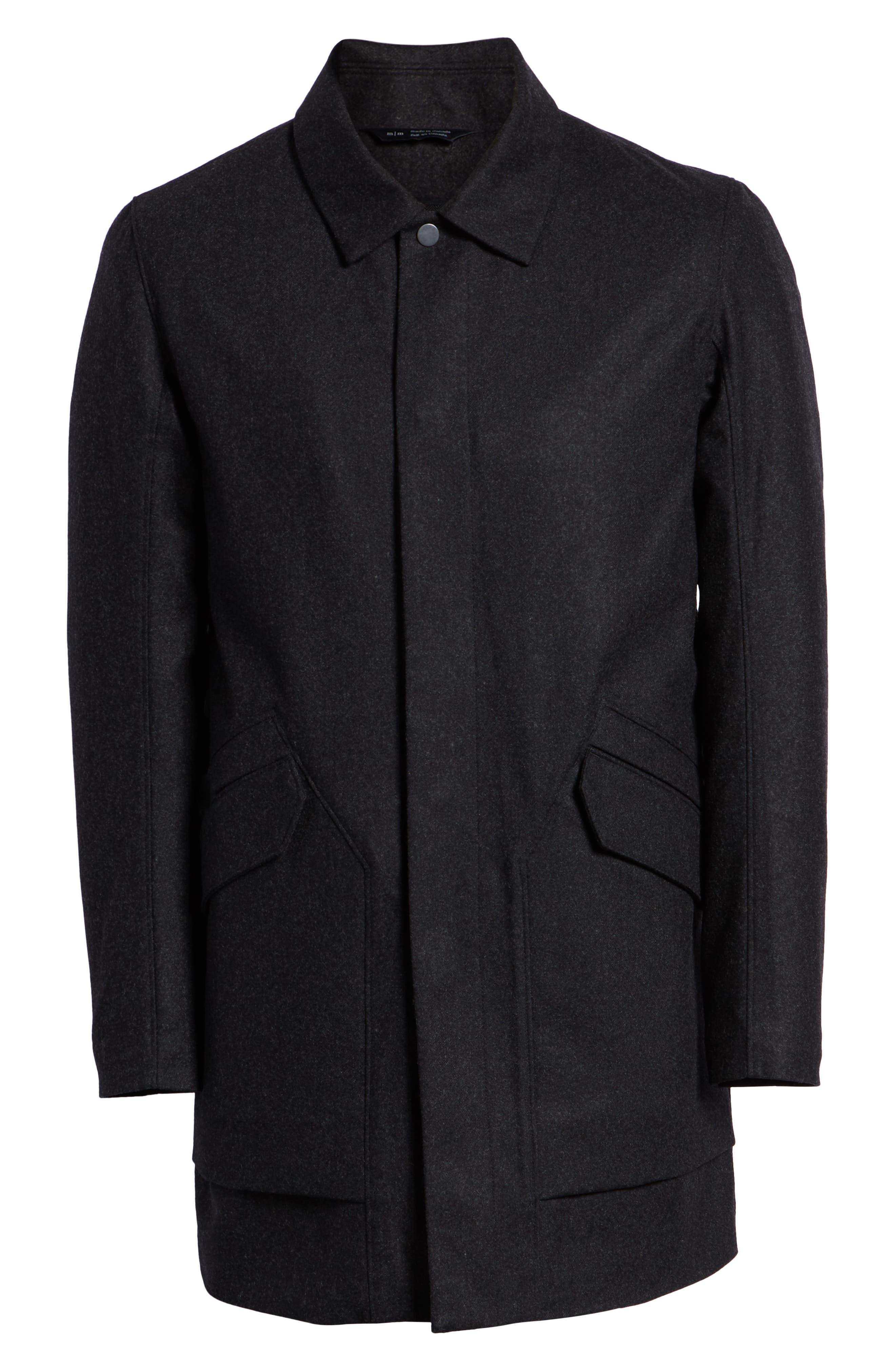 Tech Merino Wool Blend Mac Coat,                             Alternate thumbnail 6, color,                             MEDIUM BLACK