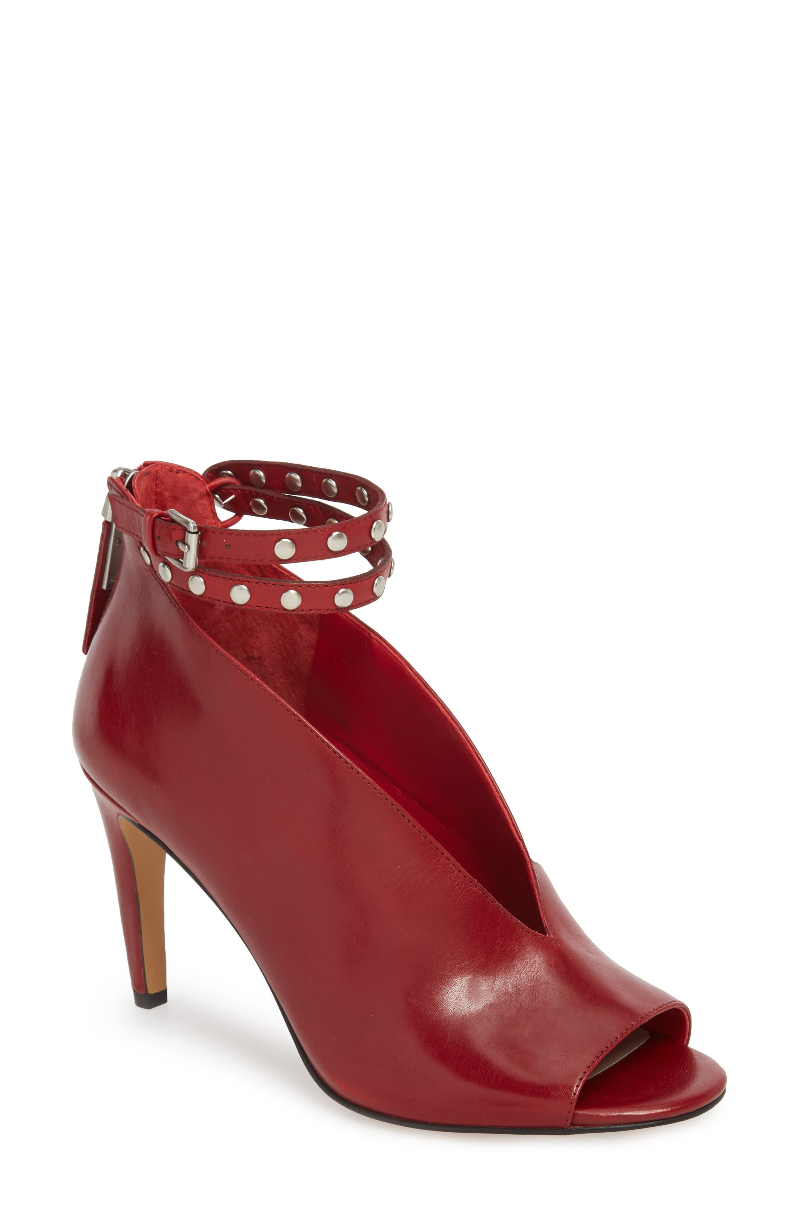 1. STATE Sall Ankle Strap Open Toe Pump,                             Main thumbnail 1, color,                             SCARLET LEATHER