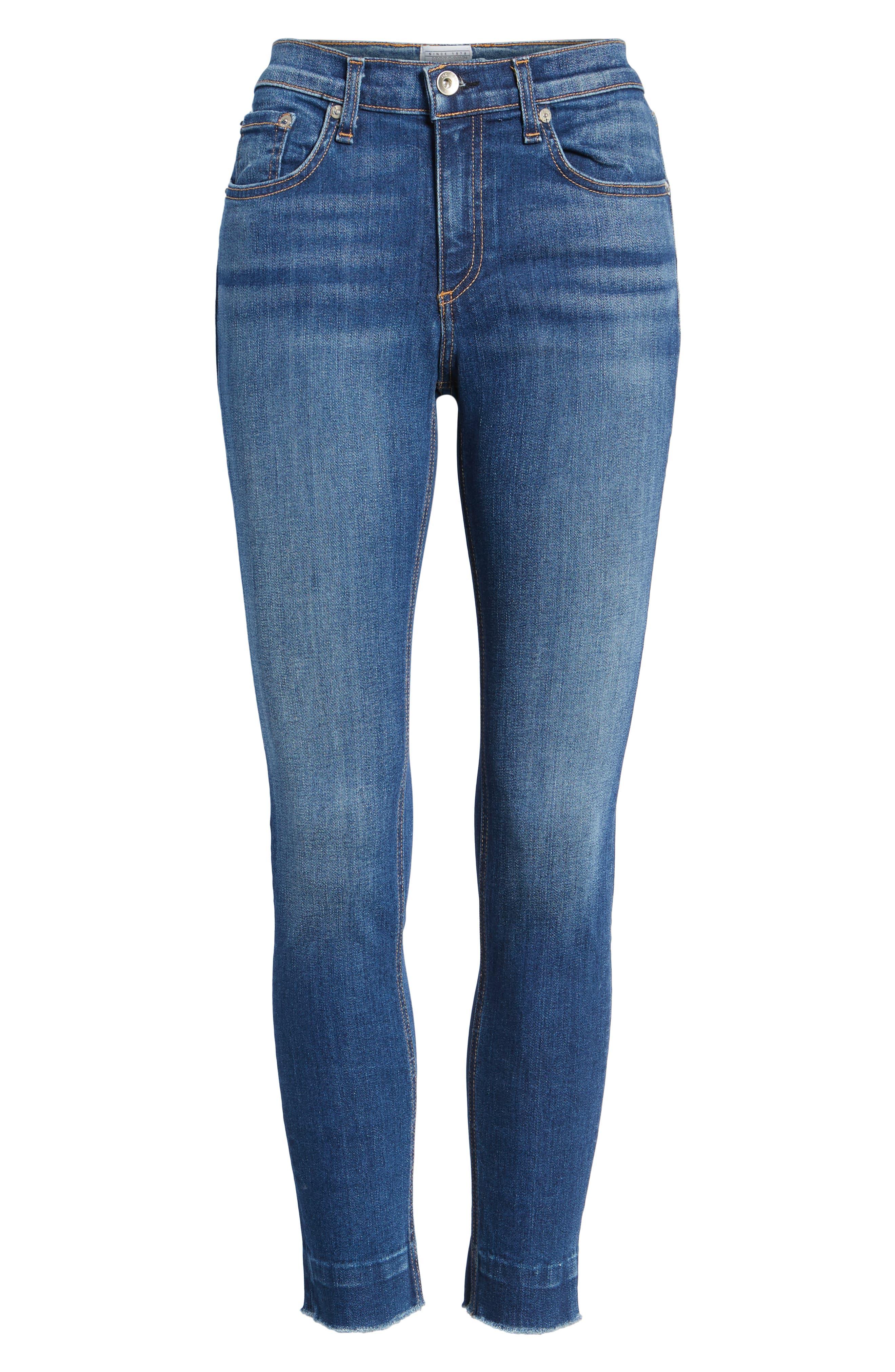 Raw Hem Ankle Skinny Jeans,                             Alternate thumbnail 7, color,                             BLAIR