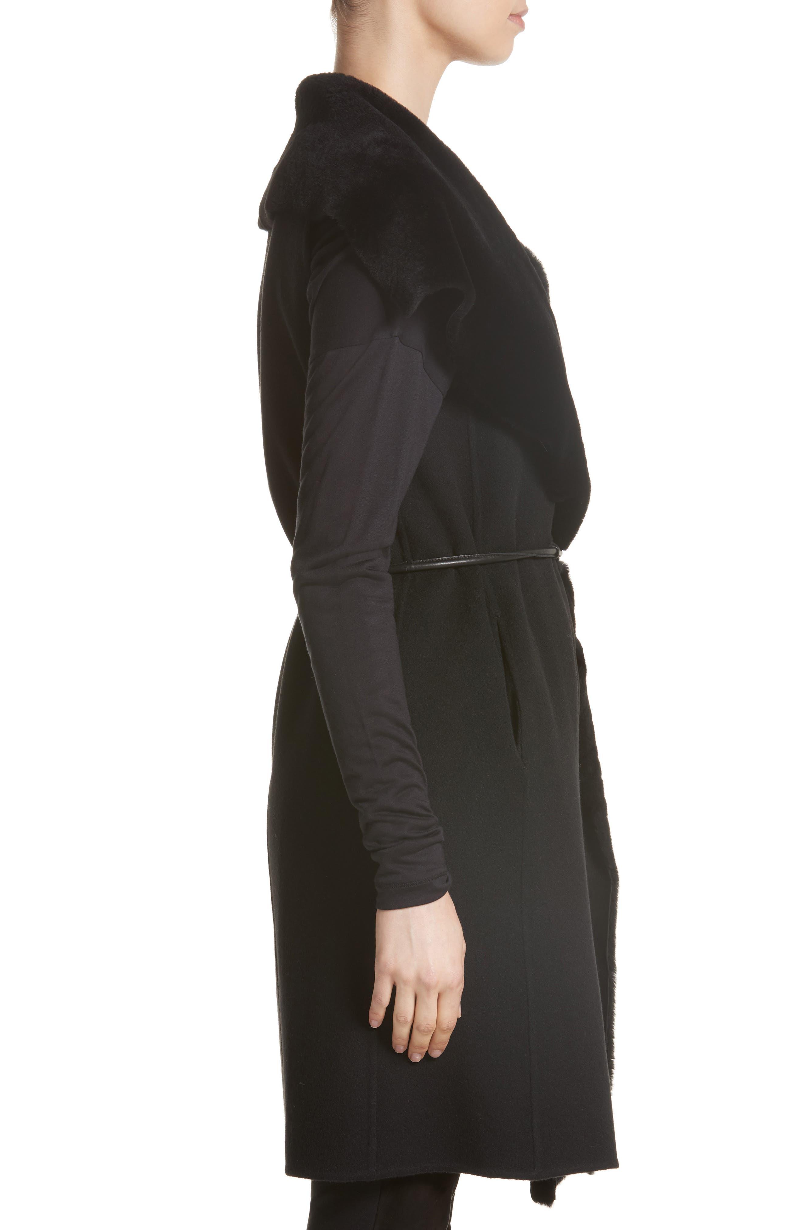 Divya Reversible Vest with Genuine Shearling Trim,                             Alternate thumbnail 4, color,                             001