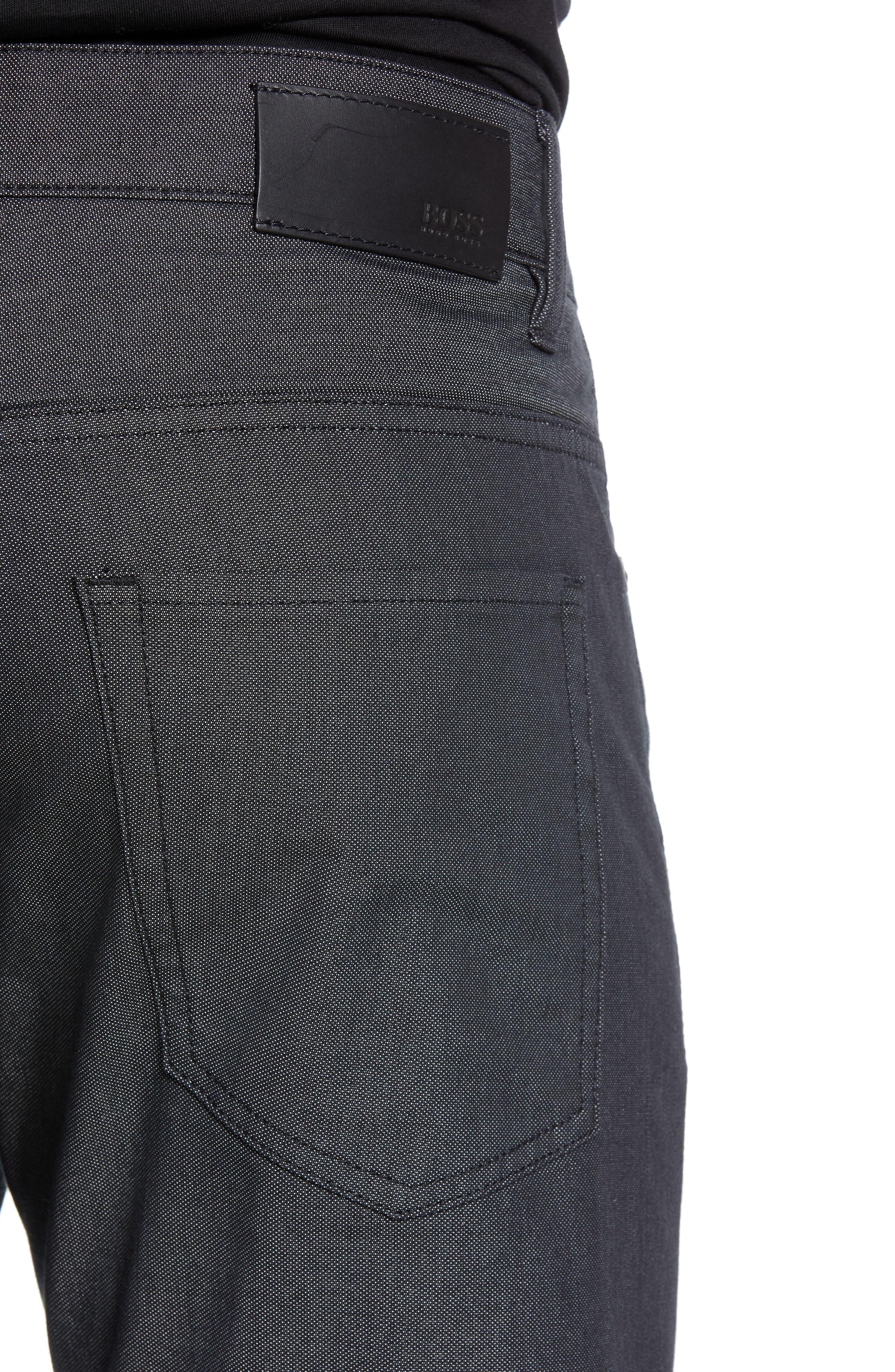 Delaware Slim Fit Pin Dot Pants,                             Alternate thumbnail 4, color,                             BLACK