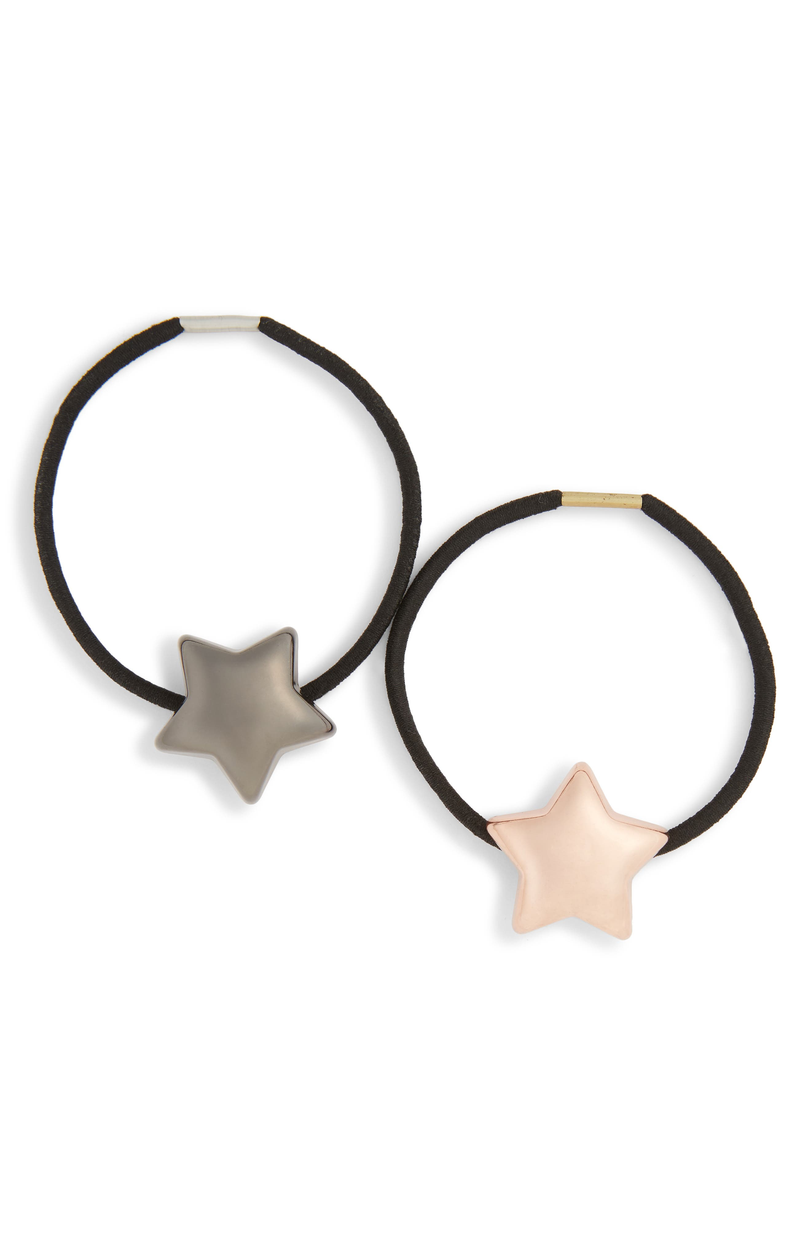 2-Pack Metal Star Ponytail Holders,                             Main thumbnail 1, color,                             ROSE GOLD/ BLACK