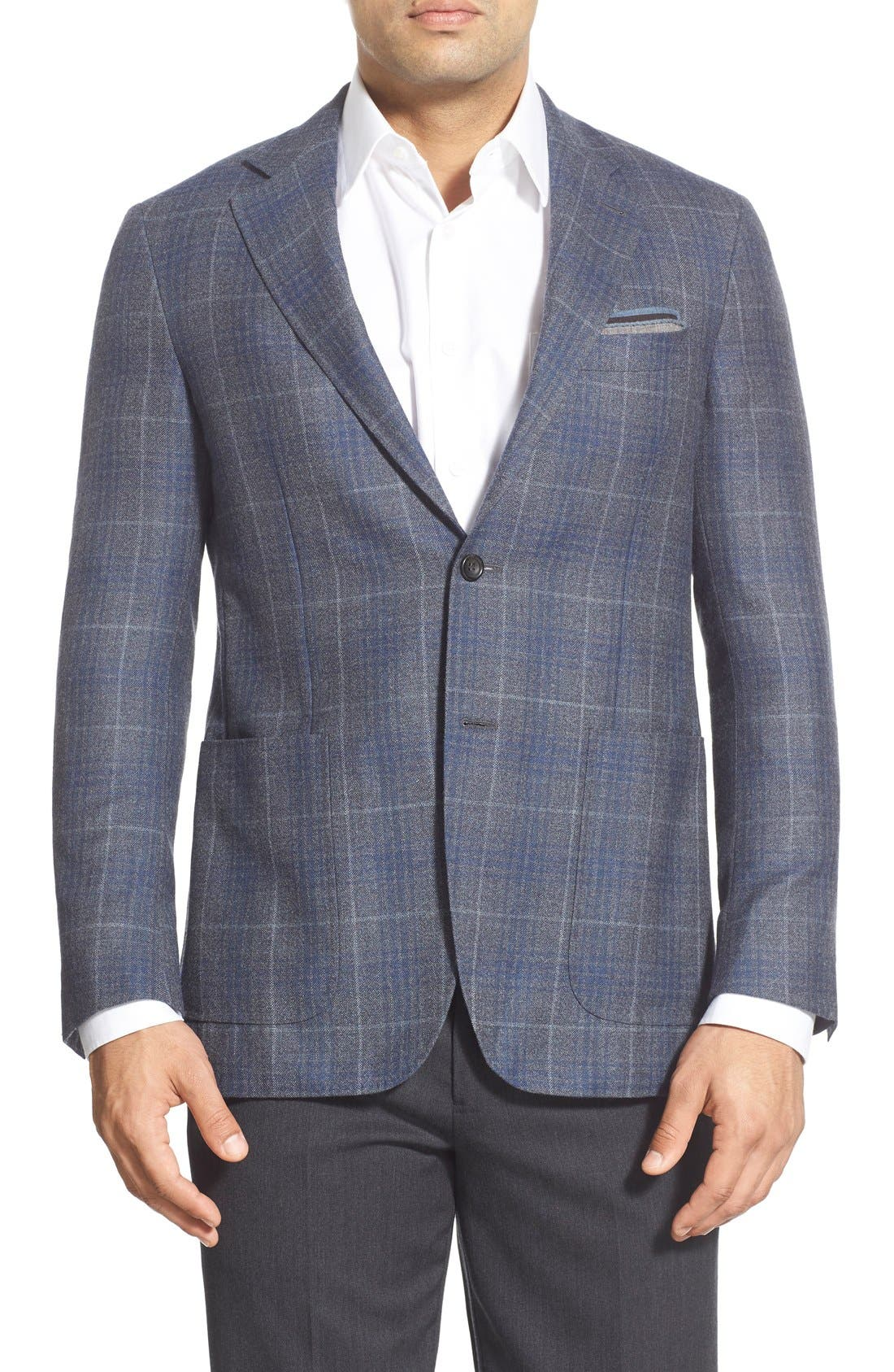 CANALI,                             Classic Fit Plaid Wool Sport Coat,                             Main thumbnail 1, color,                             030