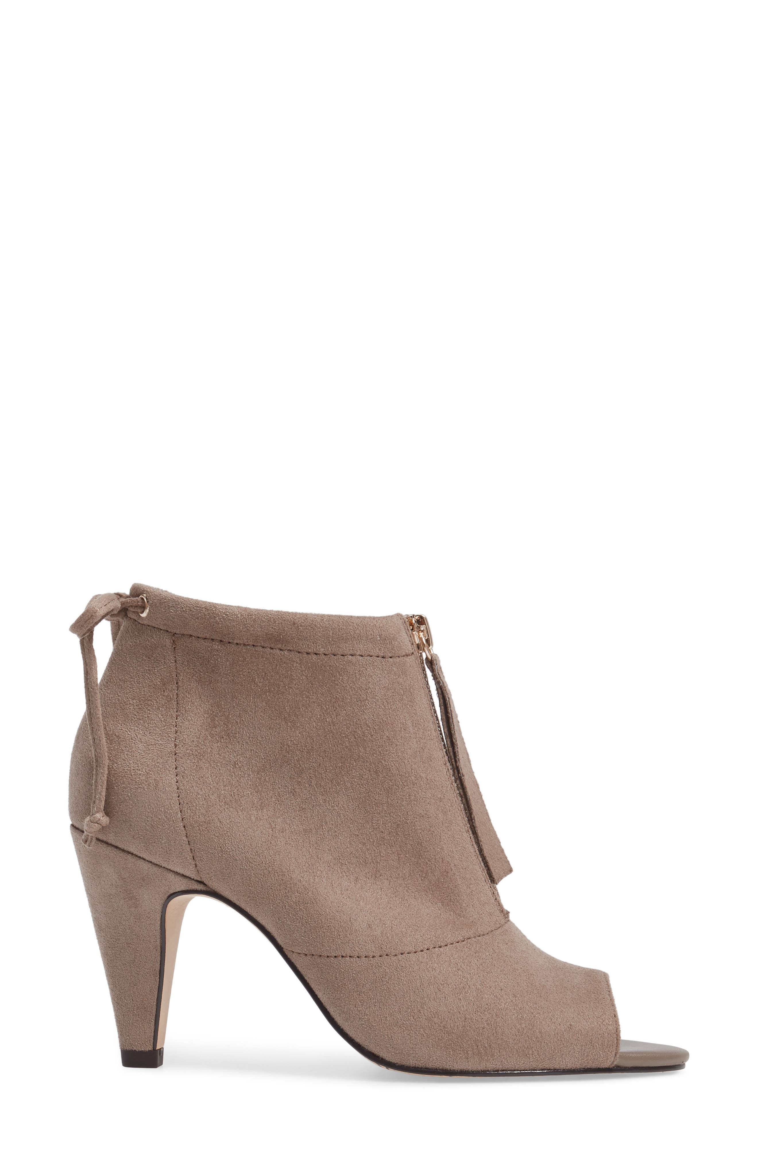 Nicky II Zip Front Bootie,                             Alternate thumbnail 3, color,                             STONE FAUX SUEDE