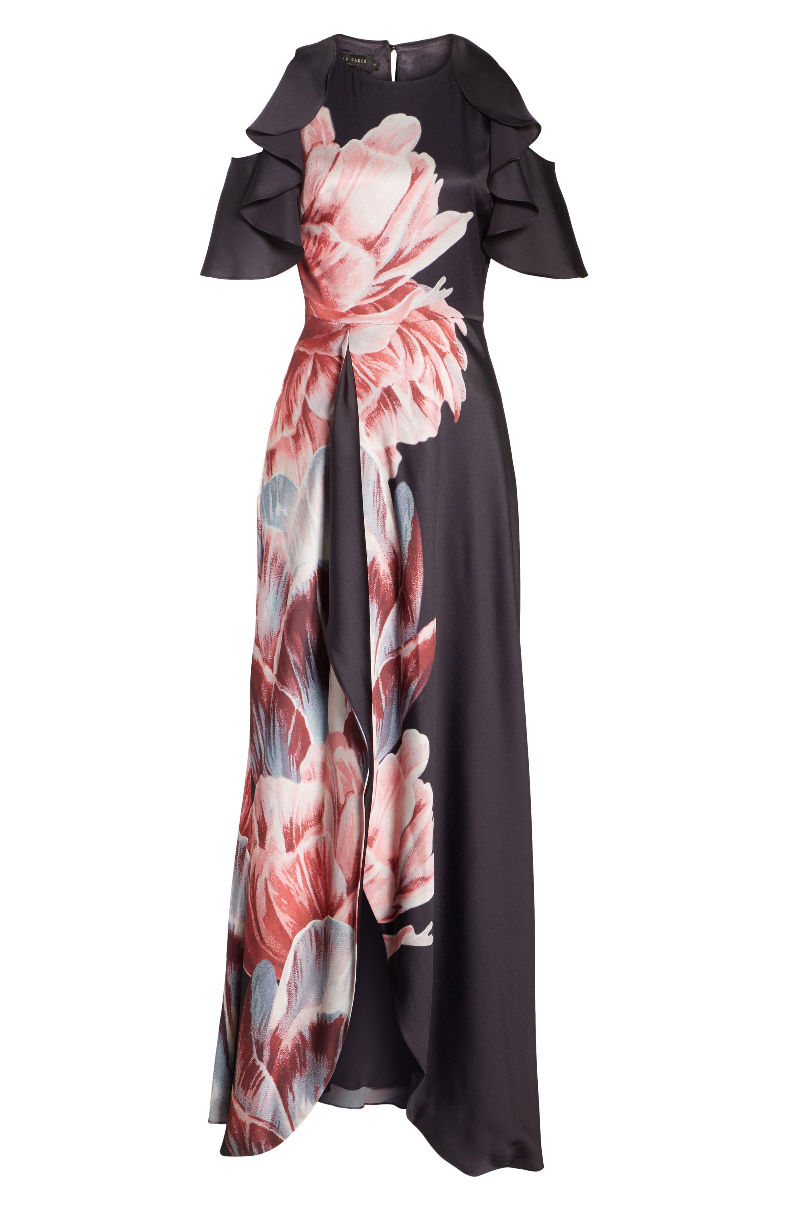 Ulrika Tranquility Ruffle Maxi Dress,                             Alternate thumbnail 8, color,                             BLACK