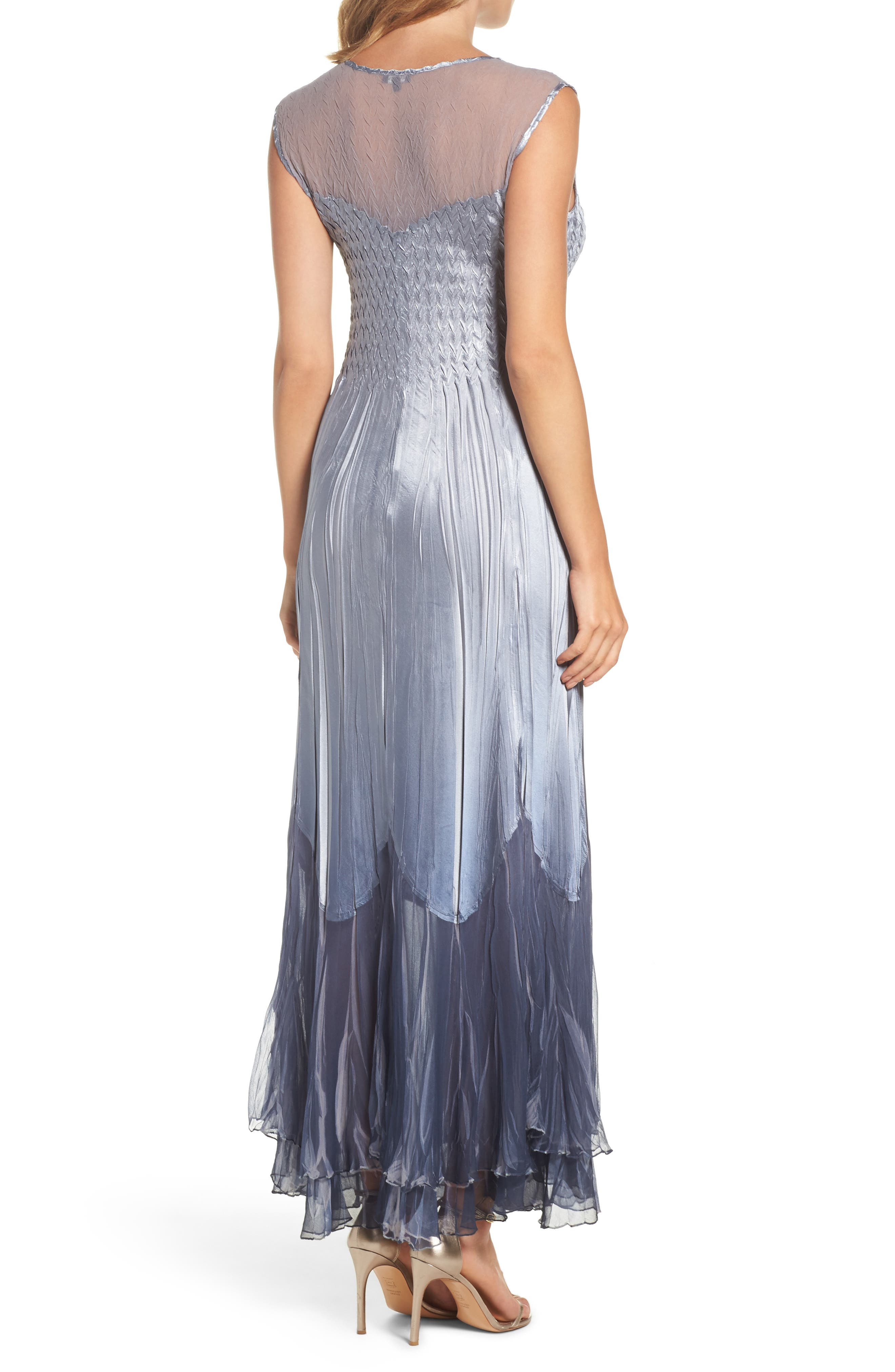 Ombré Tiered A-Line Maxi Dress with Shawl,                             Alternate thumbnail 2, color,                             404