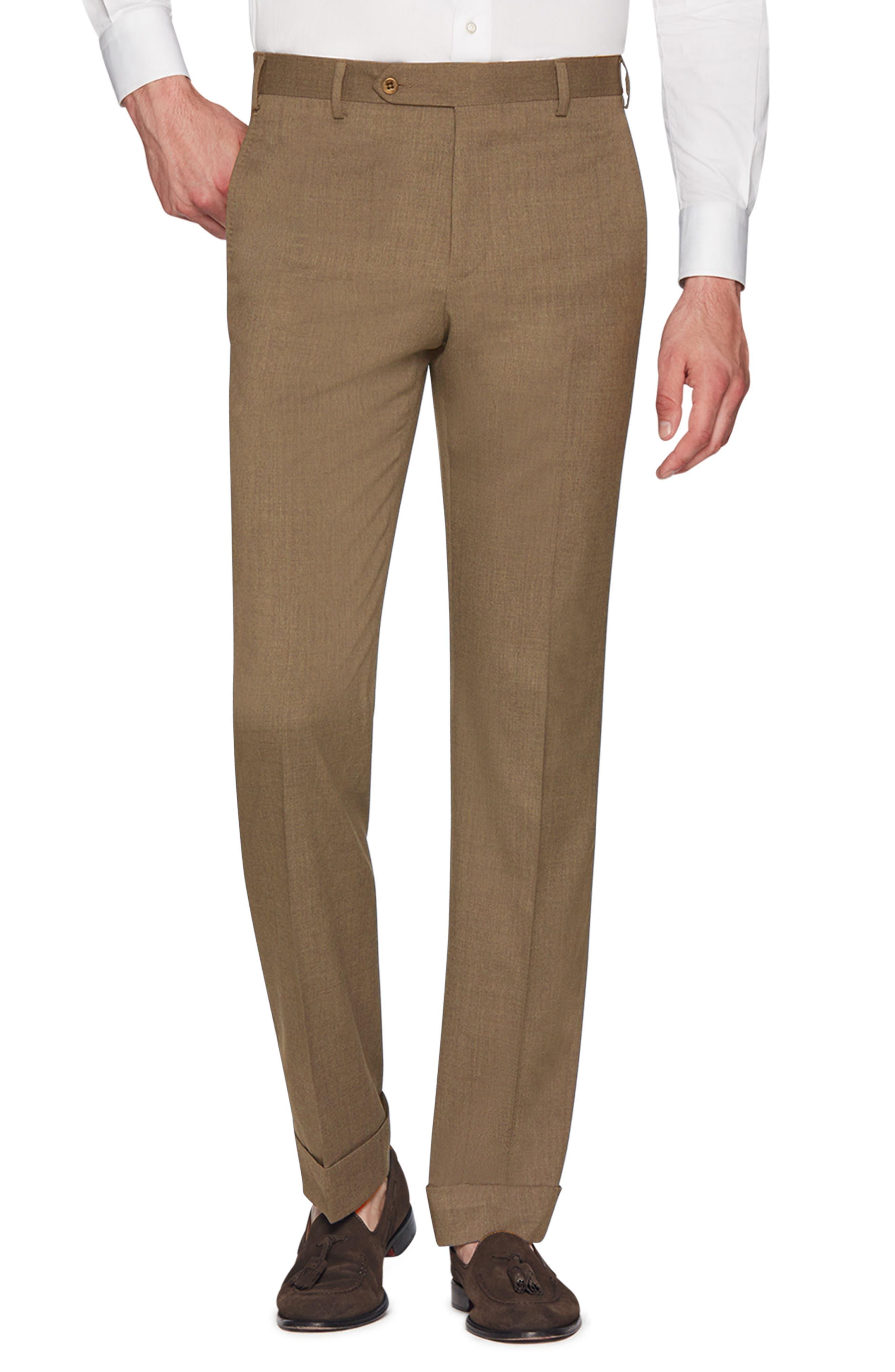 ZANELLA Devon Flat Front Stretch Solid Wool Trousers in Tan