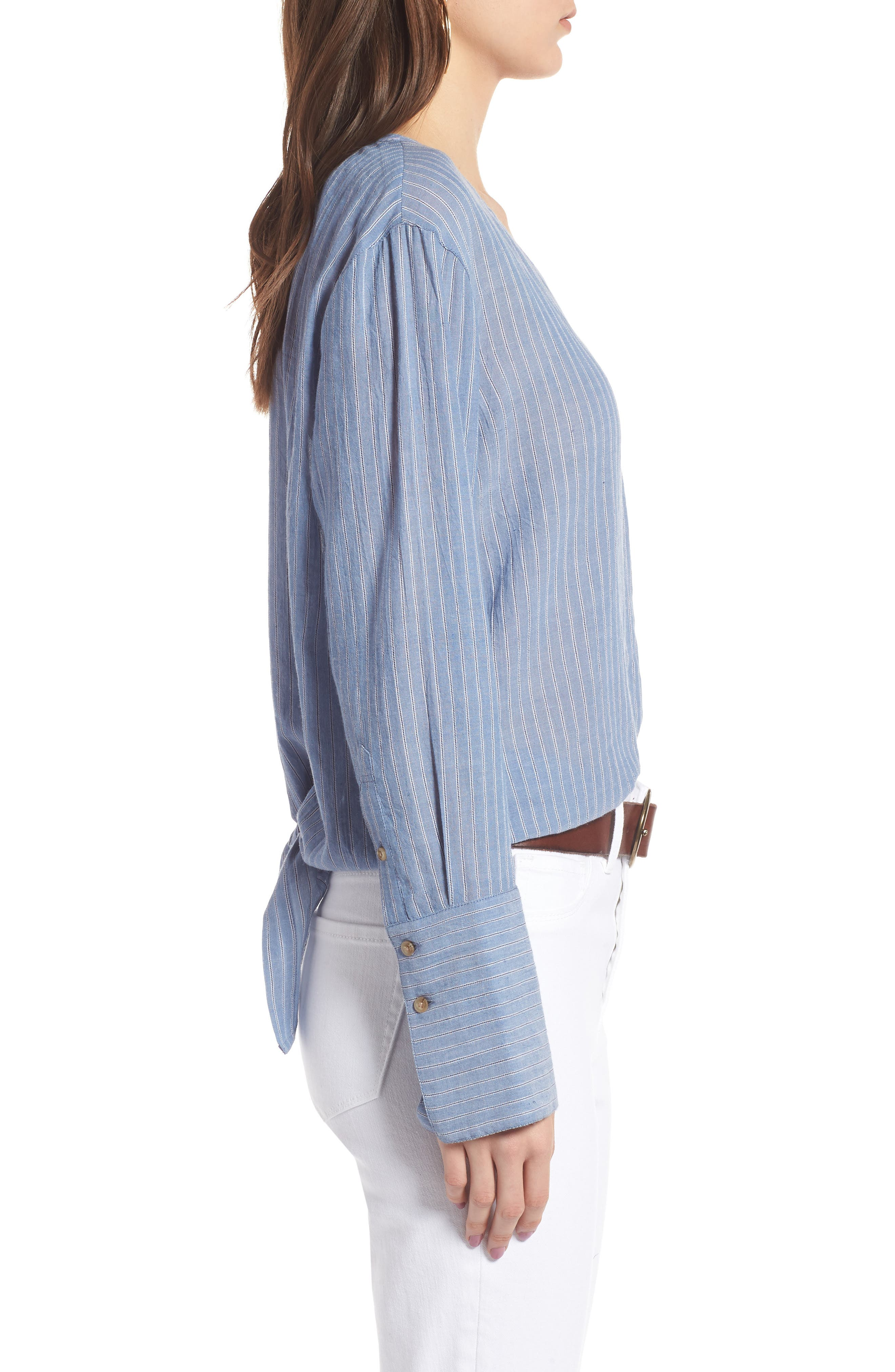 Tie Back Shirt,                             Alternate thumbnail 3, color,                             BLUE AIRY STRIPE