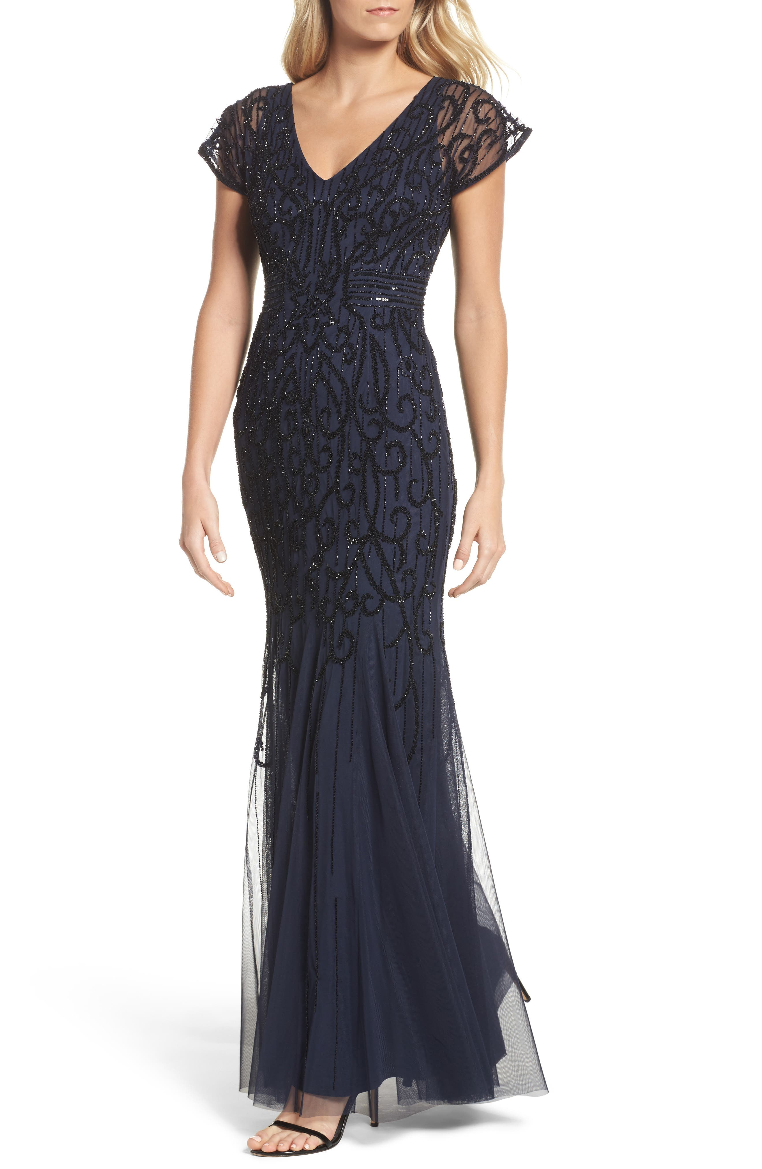 Beaded Mesh Godet Gown,                         Main,                         color, 410