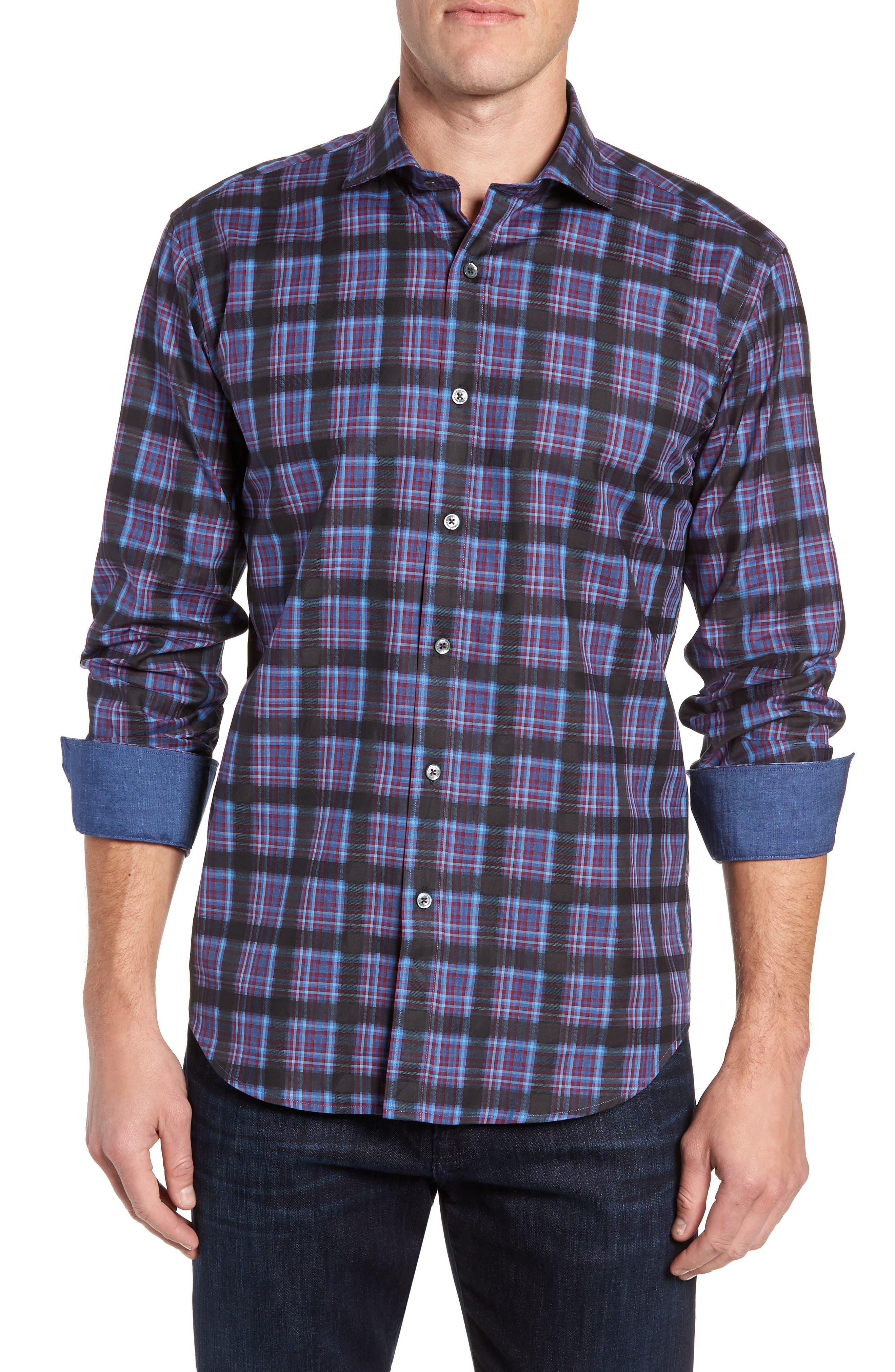 Regular Fit Plaid Sport Shirt,                         Main,                         color, 400
