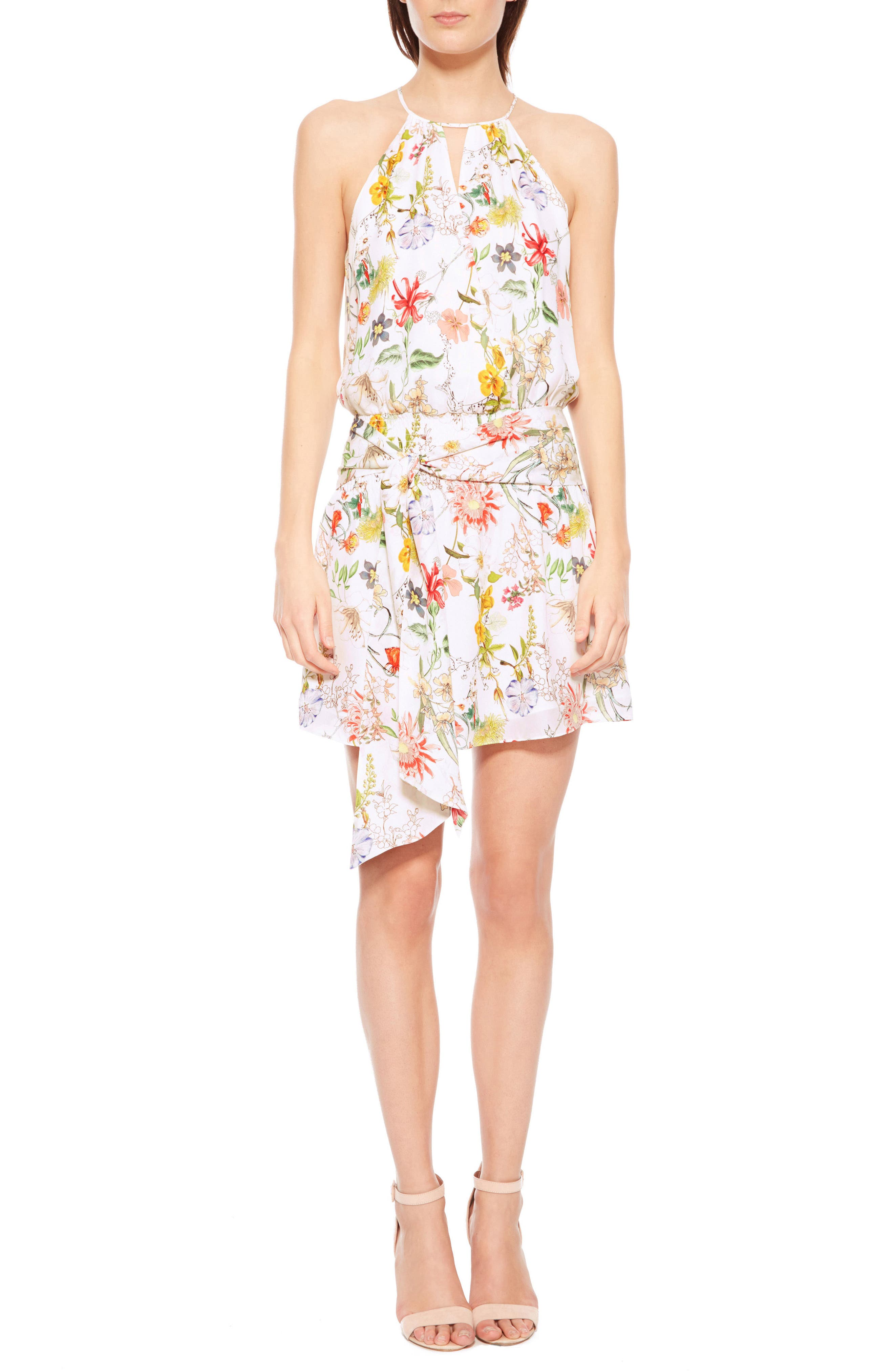 Larissa Floral Silk Dress,                             Alternate thumbnail 5, color,                             908