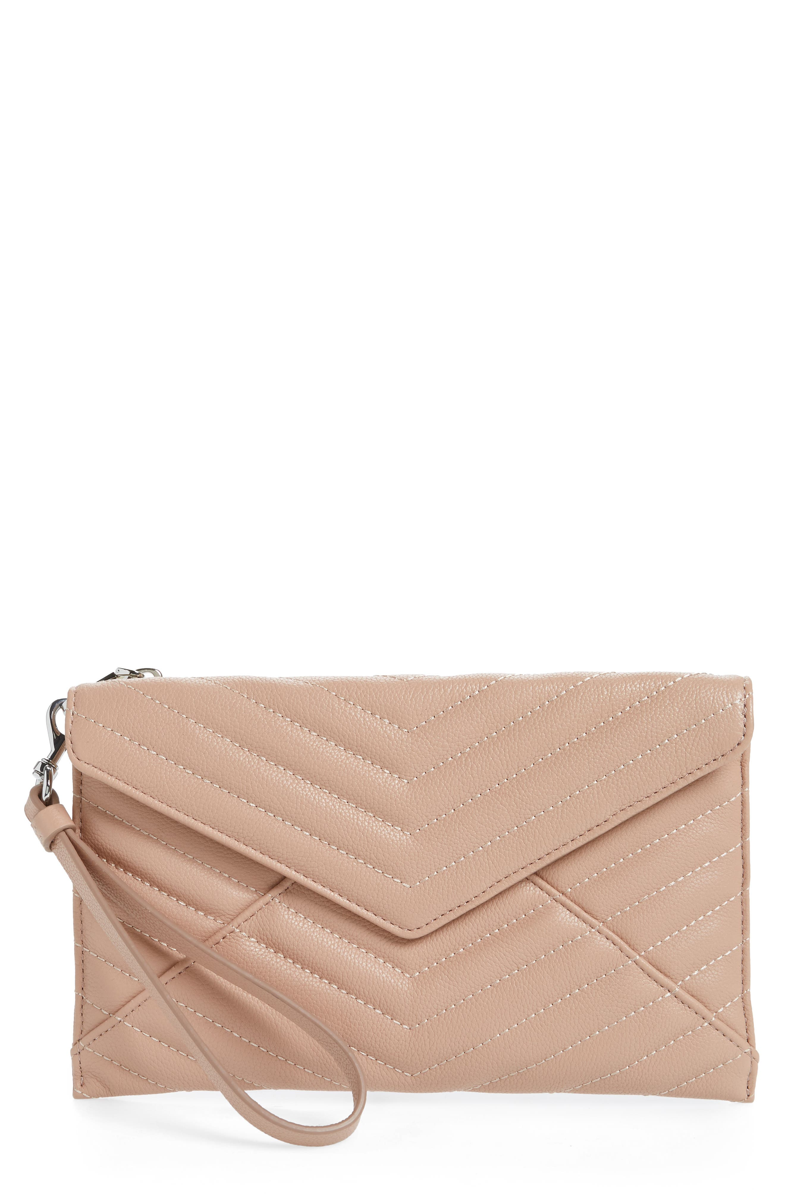 REBECCA MINKOFF,                             Leo Quilted Leather Clutch,                             Main thumbnail 1, color,                             DOE