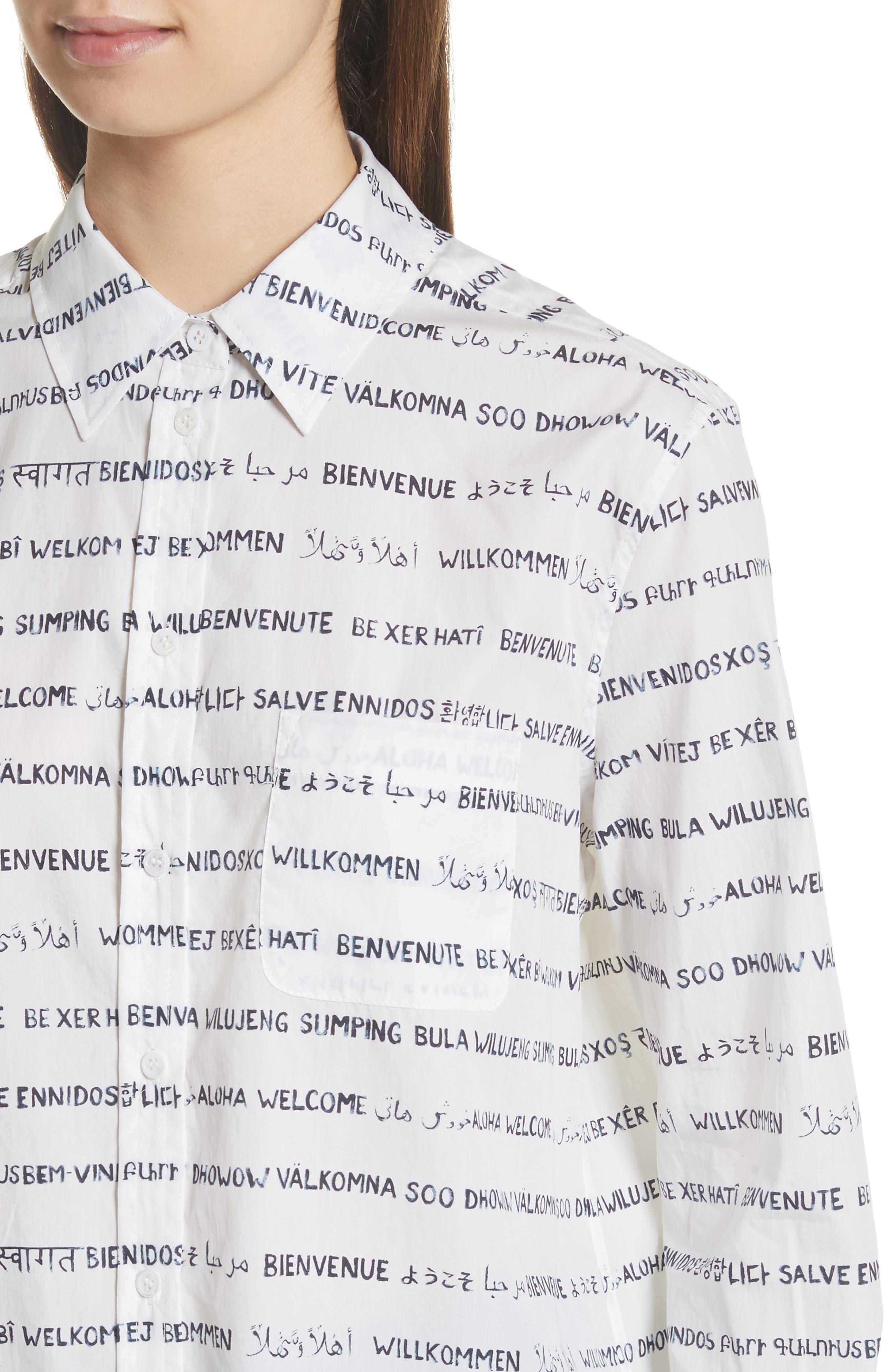 Kenton Graphic Stripe Cotton Shirt,                             Alternate thumbnail 4, color,                             125