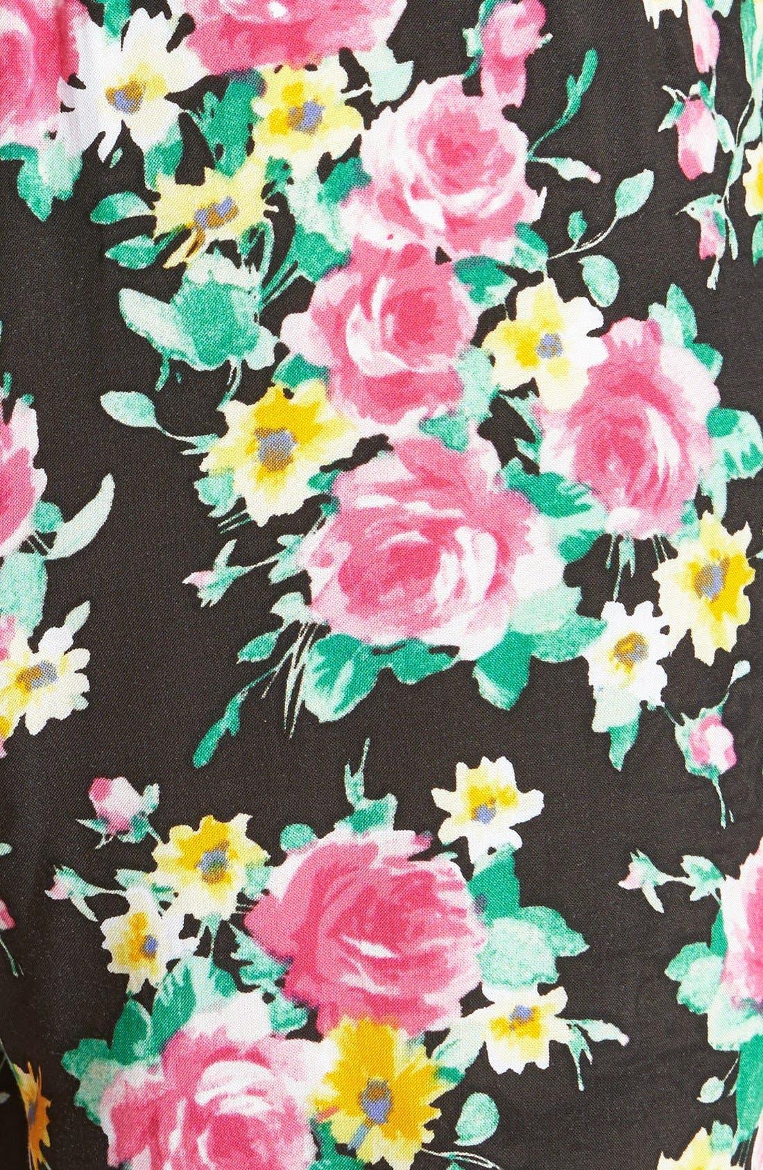 Floral Tie Waist Pants,                             Alternate thumbnail 3, color,                             001