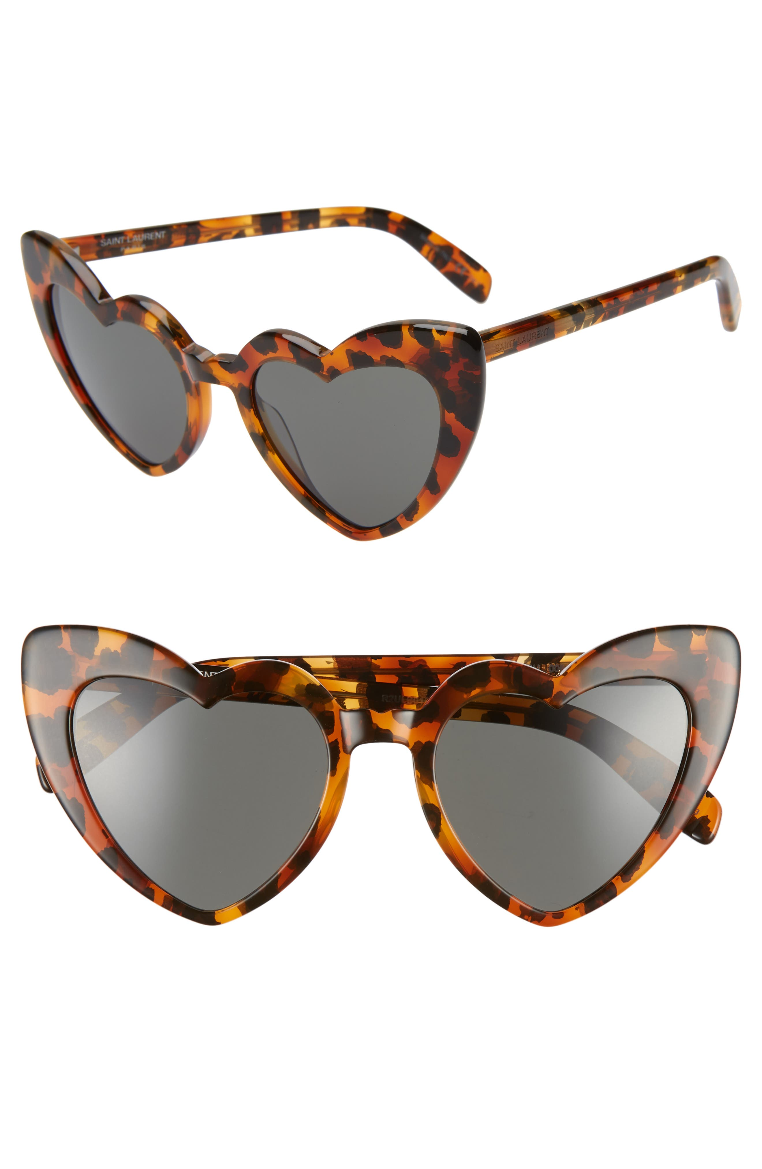 Saint Laurent Loulou 5m Heart Sunglasses - Leopard Havana/ Grey