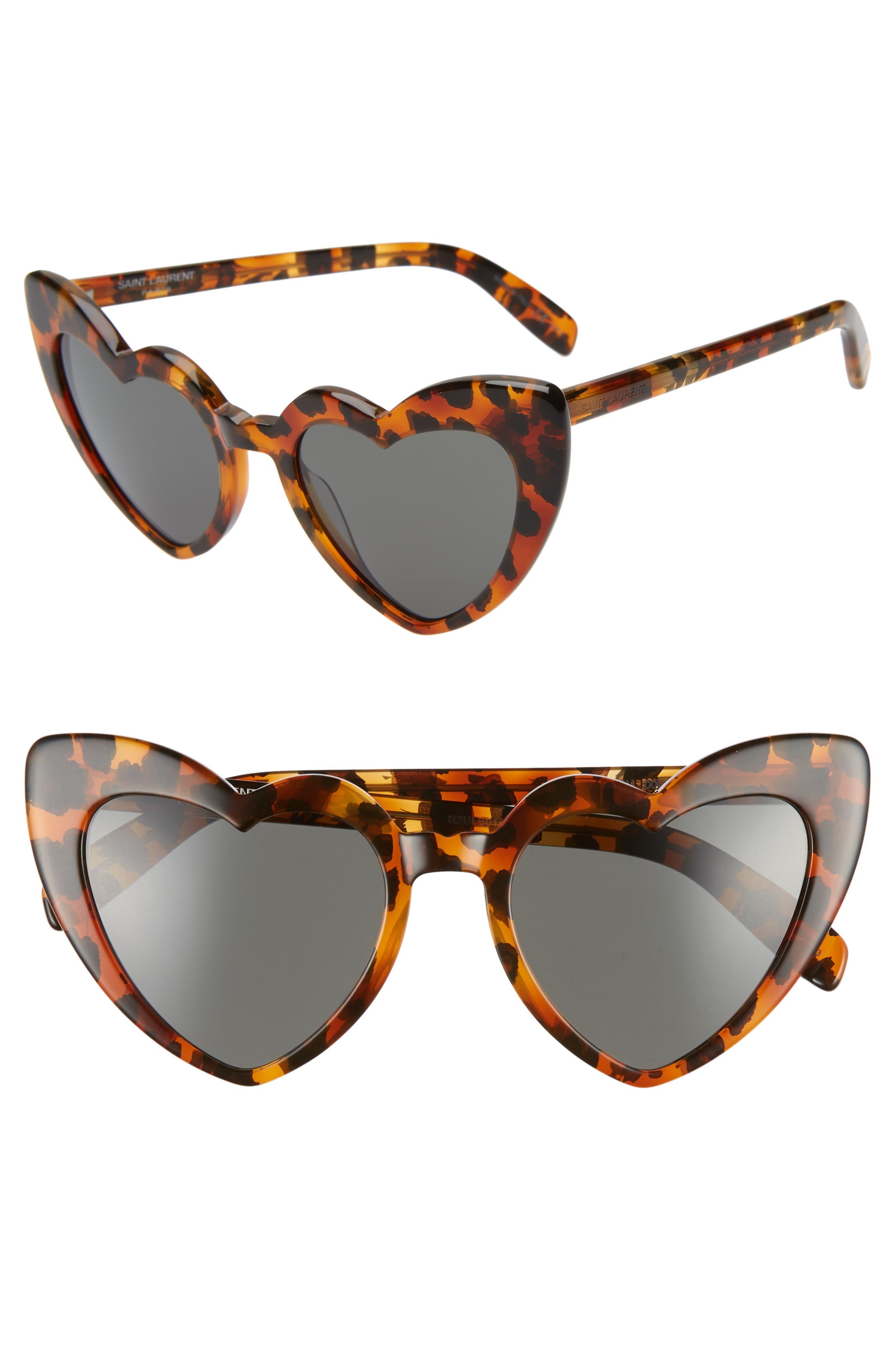 SAINT LAURENT,                             Loulou 54mm Heart Sunglasses,                             Main thumbnail 1, color,                             LEOPARD HAVANA/ GREY