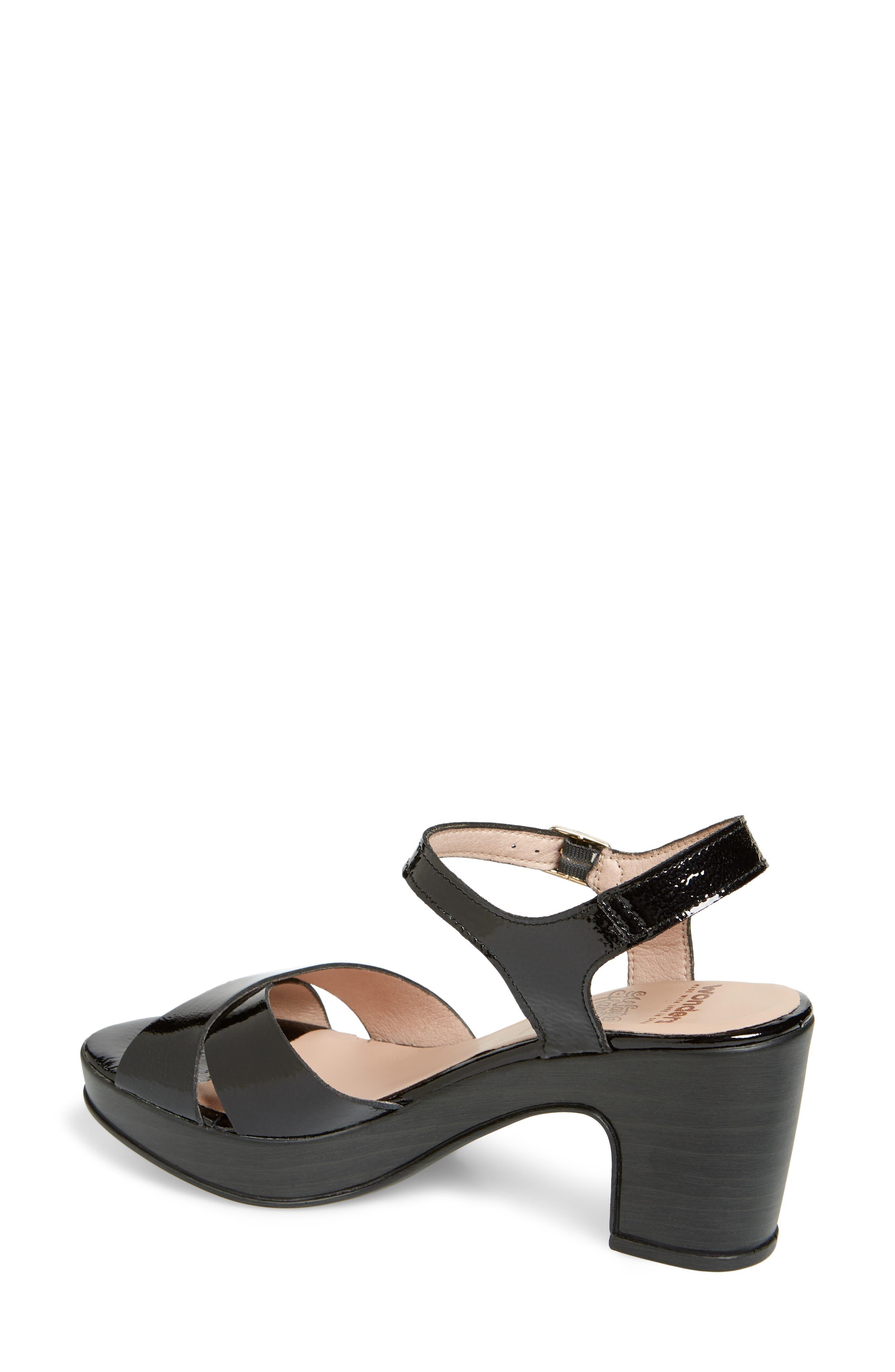Platform Sandal,                             Alternate thumbnail 2, color,                             BLACK PATENT LEATHER