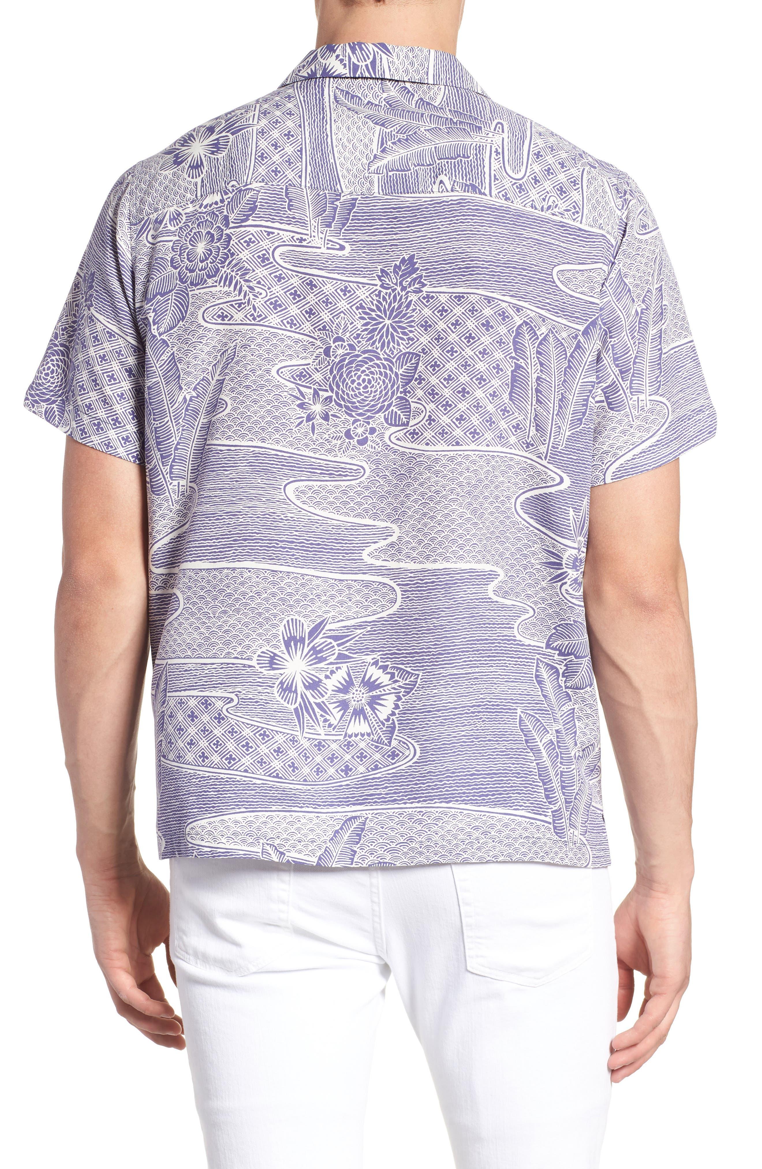 Zen Garden Trim Fit Silk Blend Camp Shirt,                             Alternate thumbnail 2, color,                             AMETHYST
