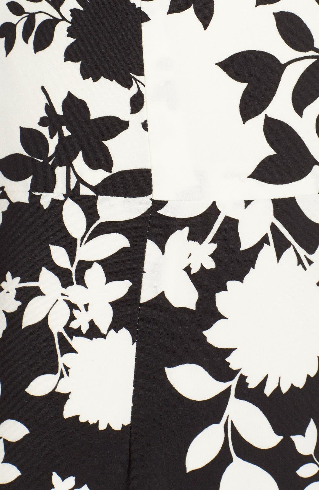 Floral Print Jersey Midi Dress,                             Alternate thumbnail 4, color,                             005