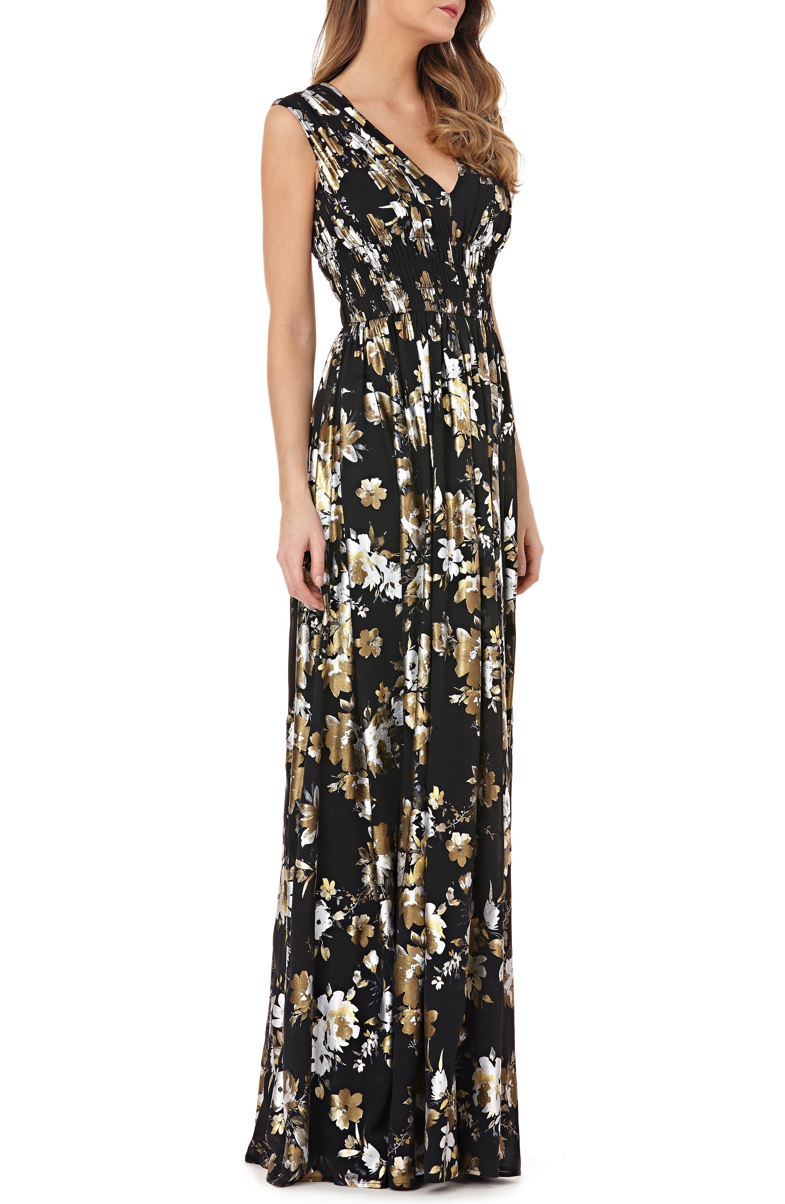 KAY UNGER V-Neck Foiled Chiffon Dress W/ Smocked Waist in Black Multi