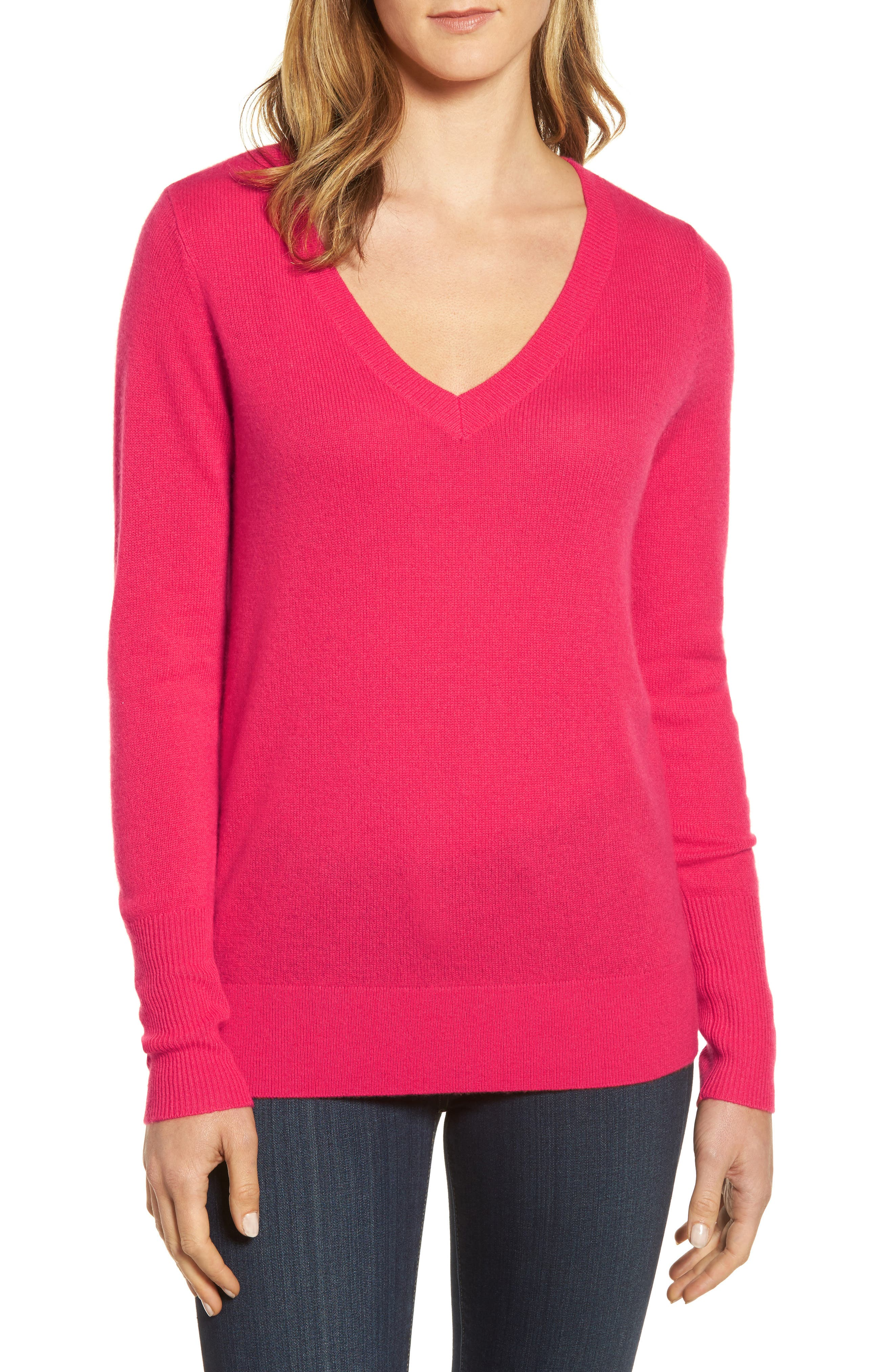 V-Neck Cashmere Sweater,                             Main thumbnail 11, color,
