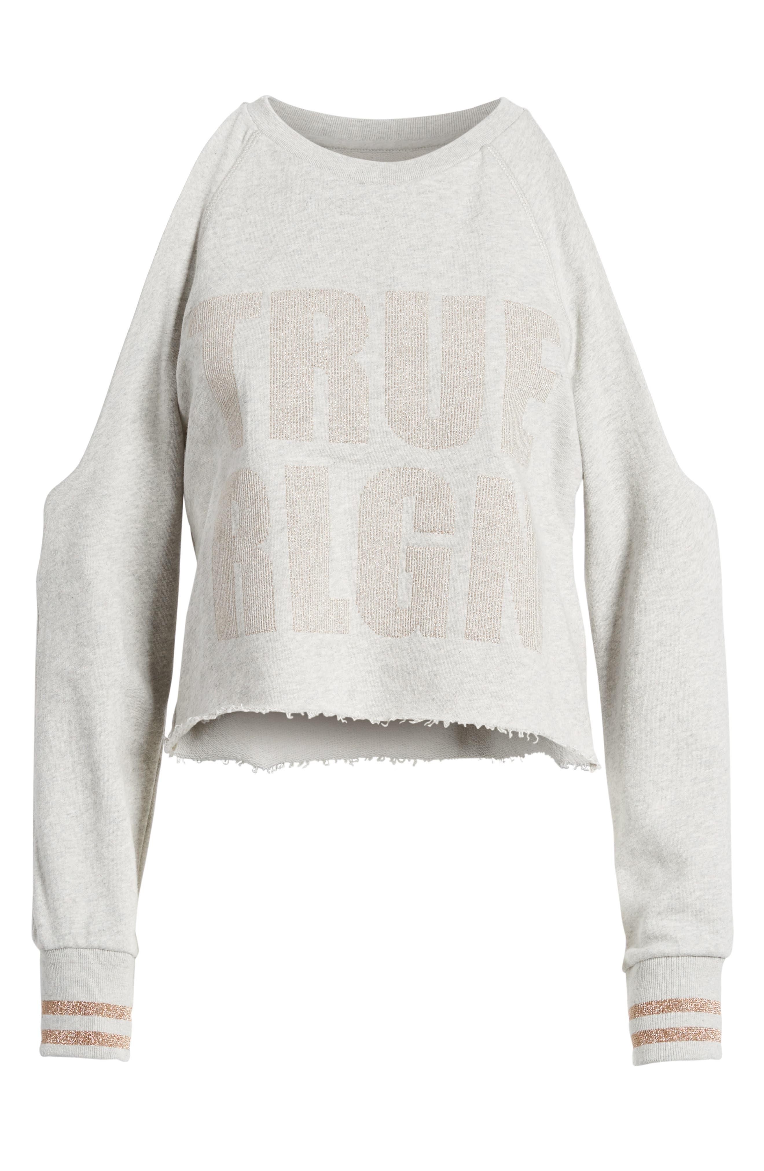 Cold Shoulder Crop Sweatshirt,                             Alternate thumbnail 12, color,