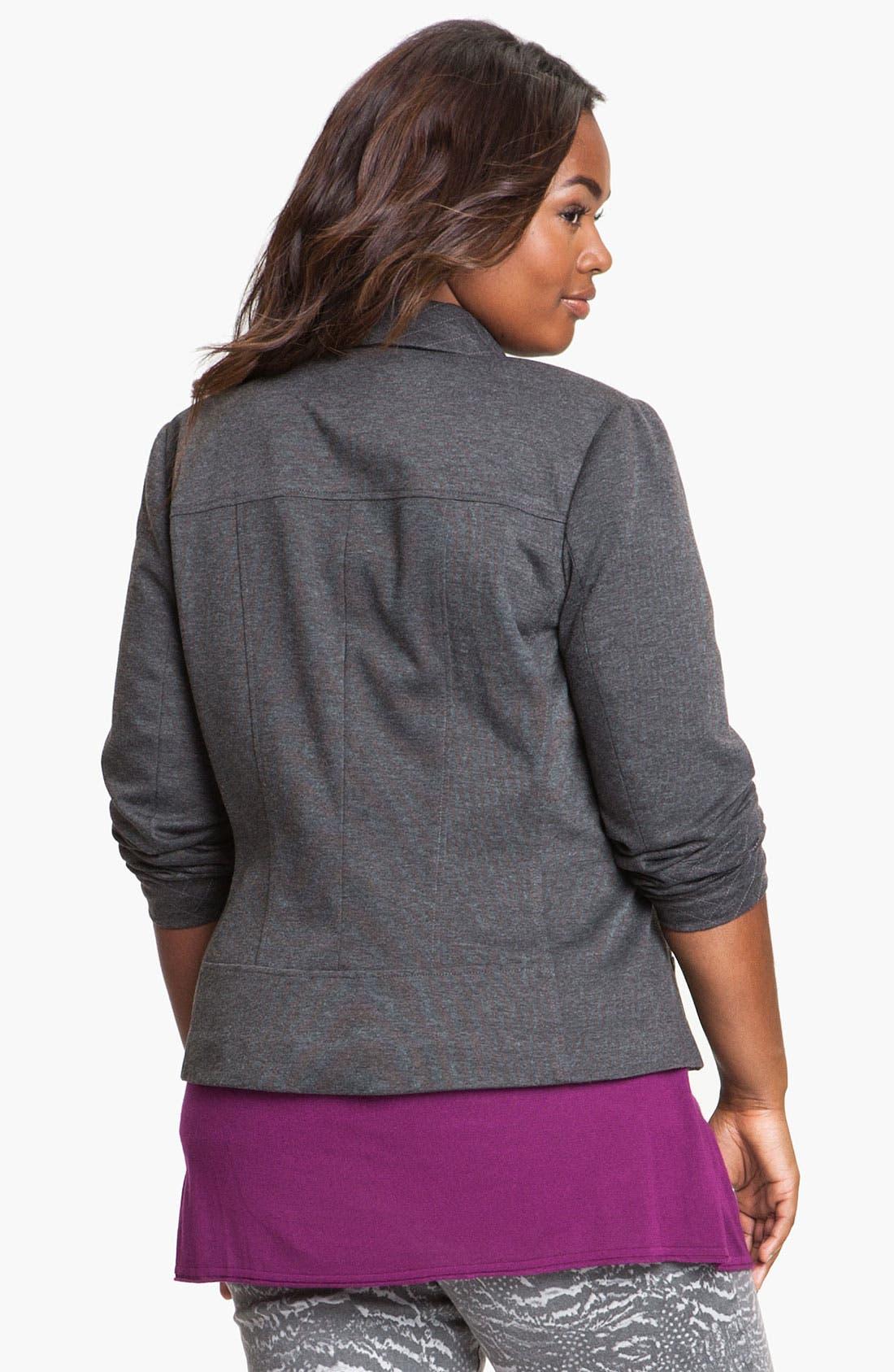 Quilt Trim Ponte Knit Jacket,                             Alternate thumbnail 4, color,                             020