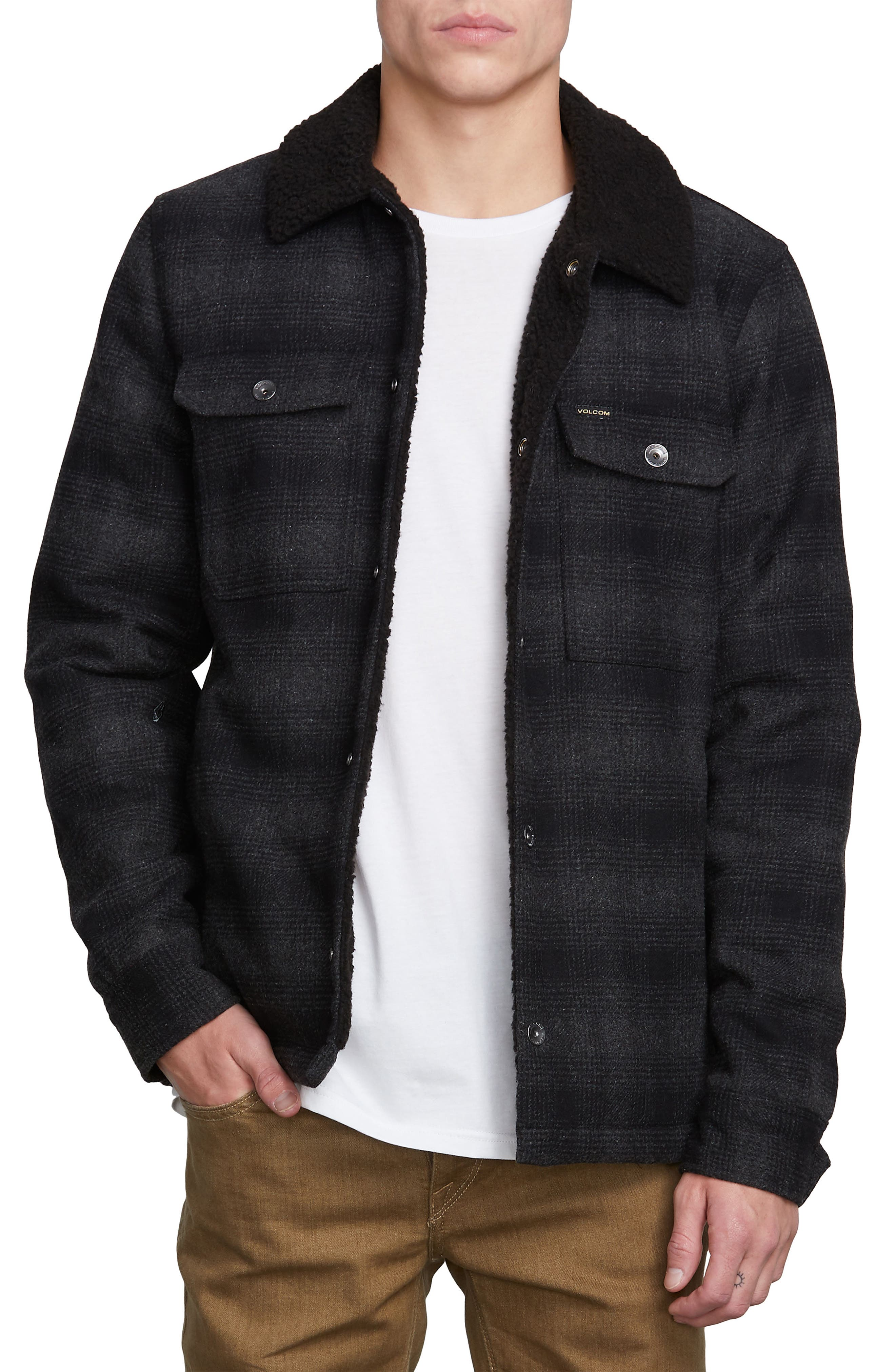 Keaton Jacket with Faux Shearling Trim,                         Main,                         color, GREY