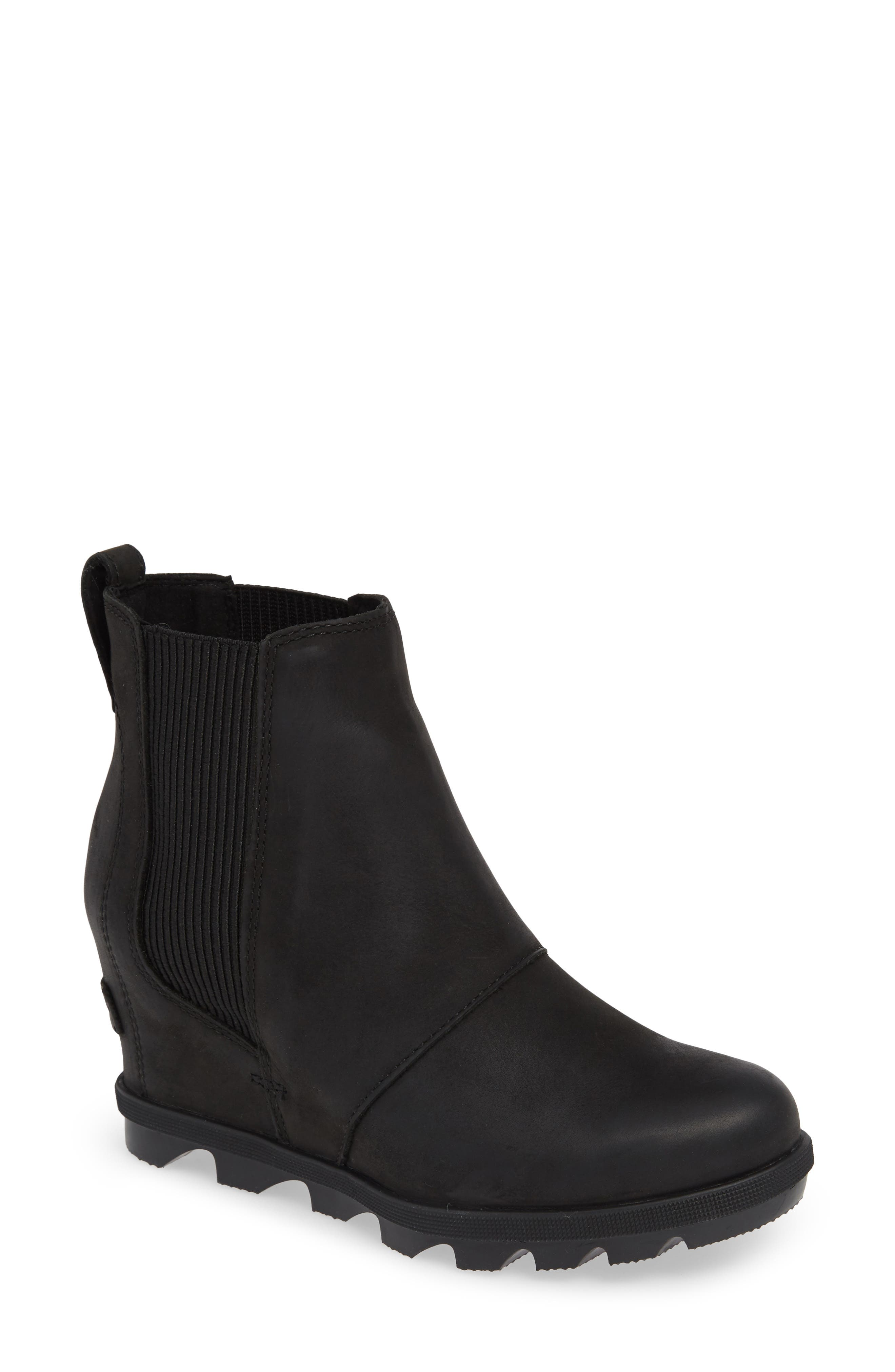 SOREL,                             Joan of Arctic II Waterproof Wedge Bootie,                             Main thumbnail 1, color,                             BLACK