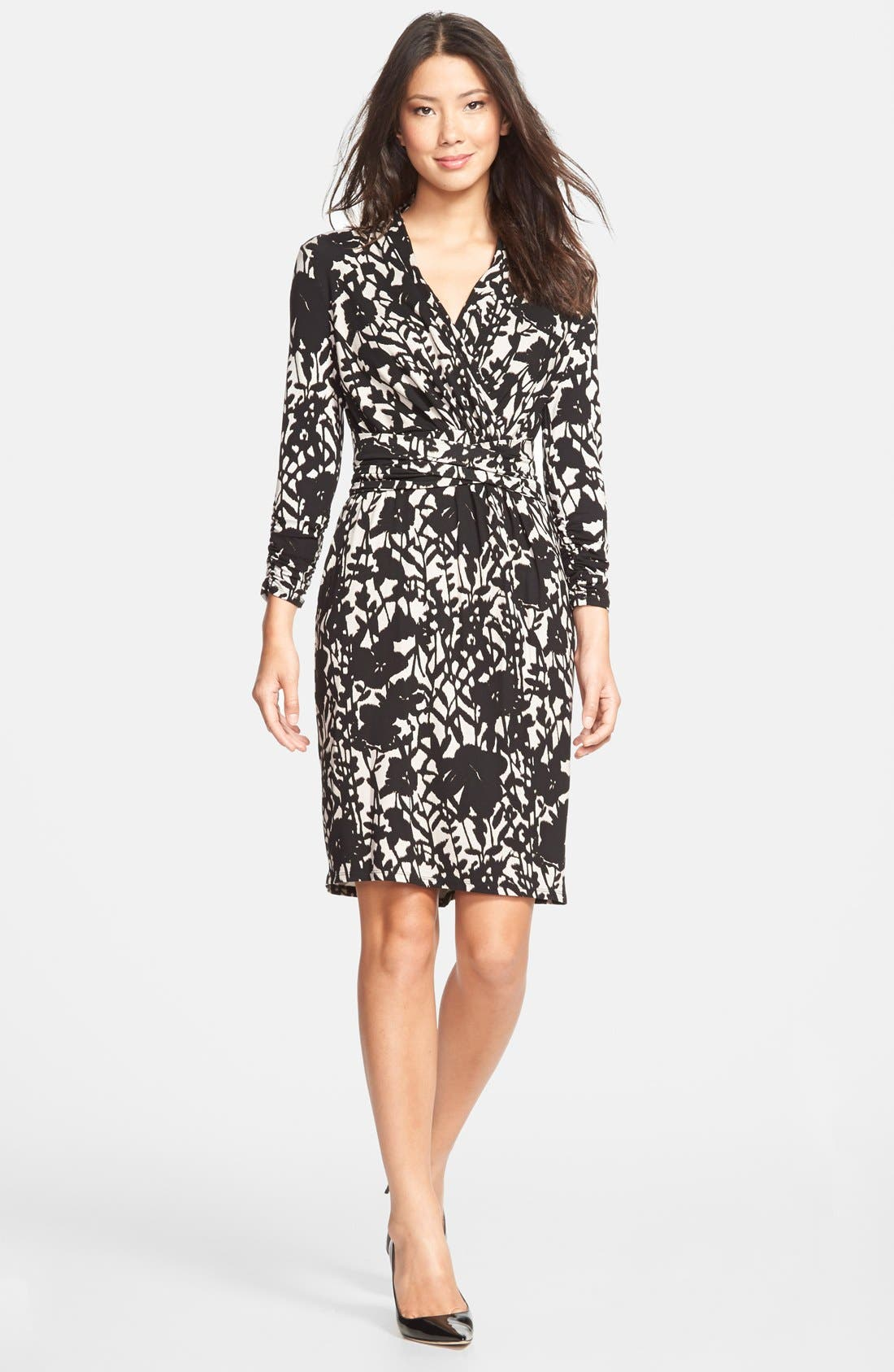 ADRIANNA PAPELL,                             Floral Print Faux Wrap Dress,                             Main thumbnail 1, color,                             015