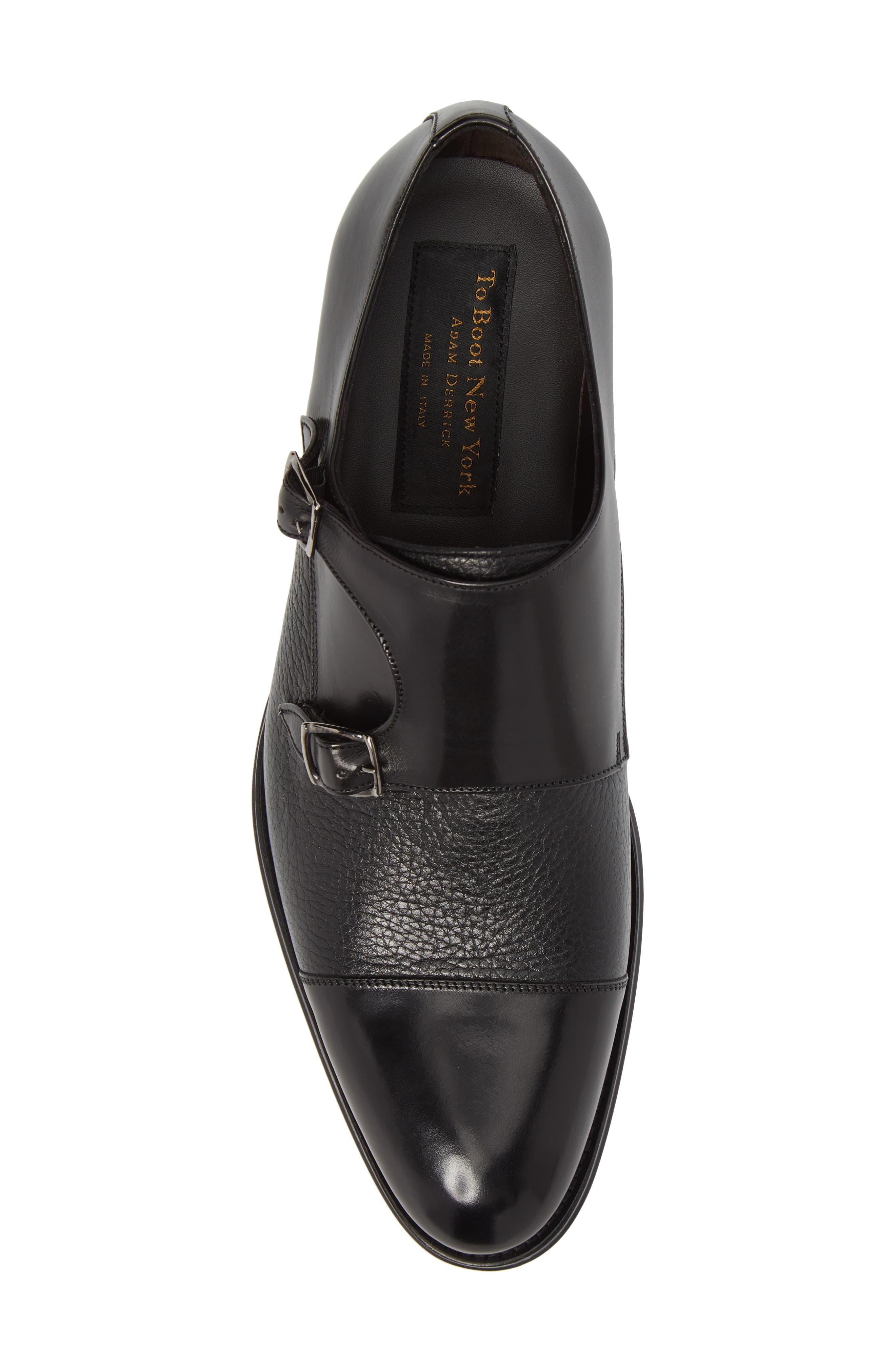 Kiev Double Monk Strap Shoe,                             Alternate thumbnail 5, color,                             BLACK/ BLACK LEATHER